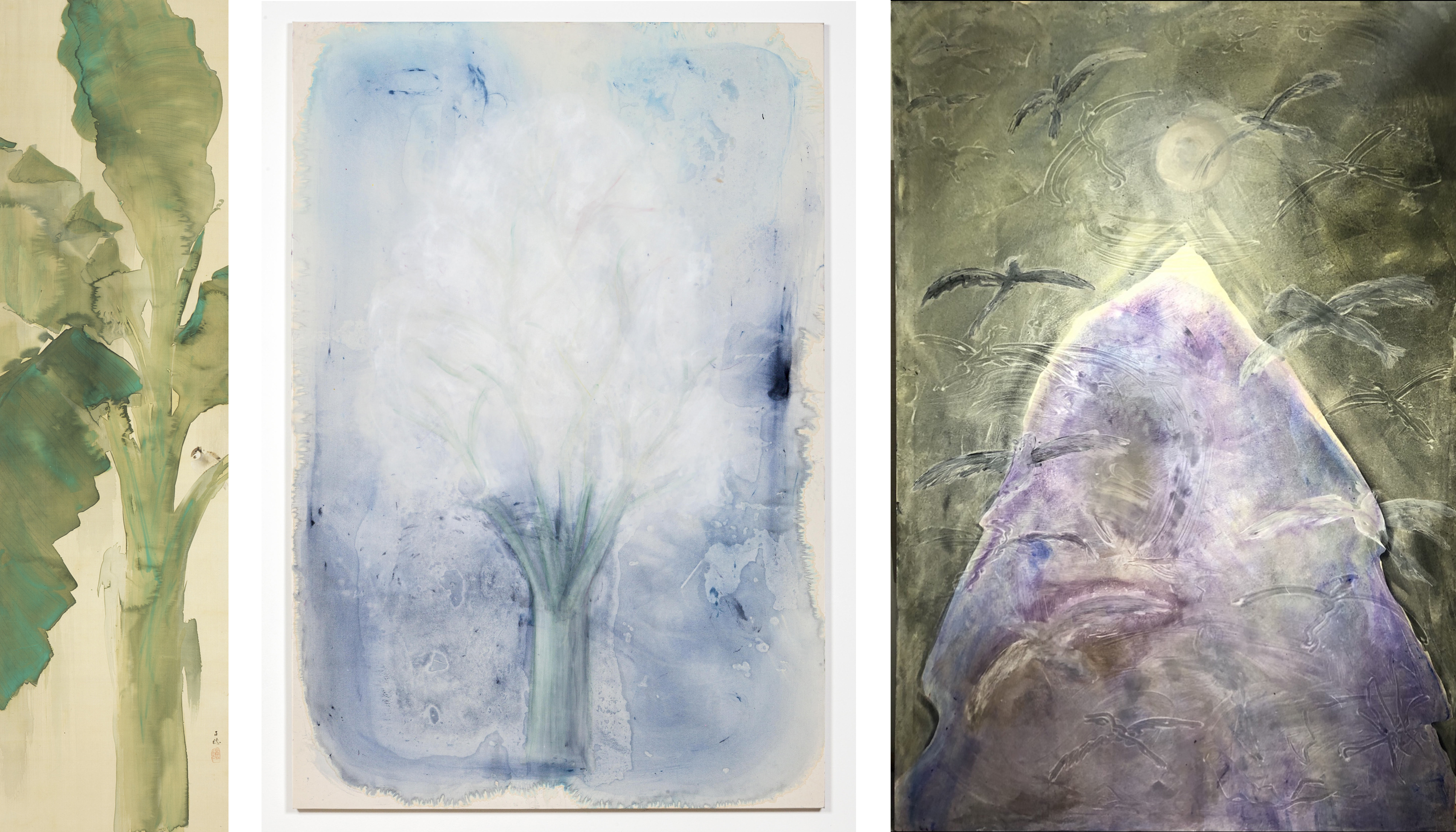 Left (LACMA selection): Hirafuku Hyakusui, Banana Tree in Rain, 20th century, Los Angeles County Museum of Art, Far Eastern Art Council Fund, photo © Museum Associates/LACMA; Center (Artist work): Tara Walters, Lone Tree, 2020, photo by David Daigle; Right (Artist work): Tara Walters, Vanquish, 2020, photo courtesy of the artist