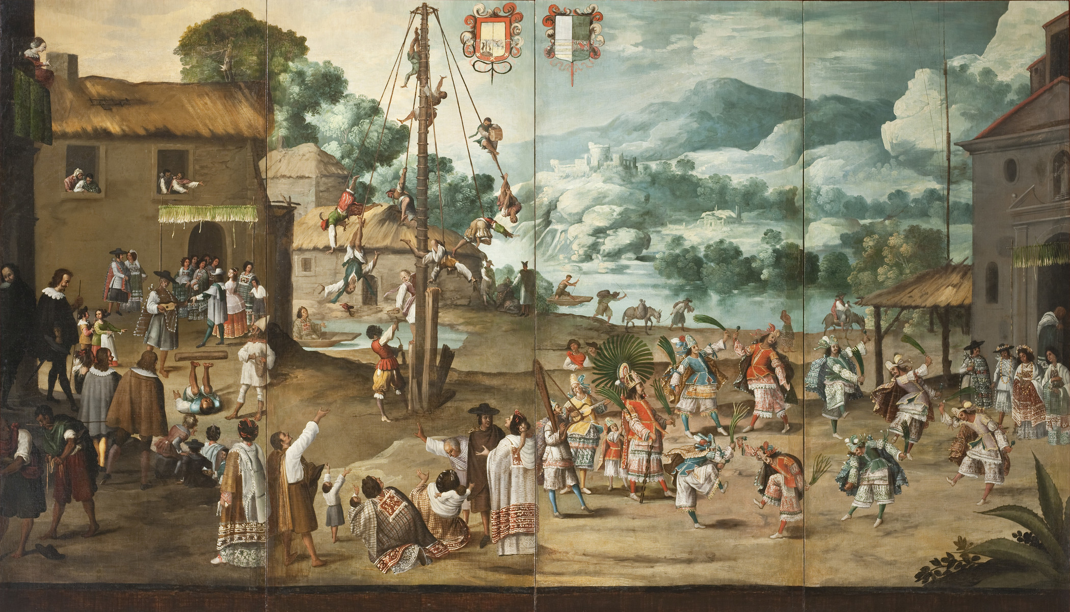 Folding Screen with Indian Wedding and Flying Pole (Biombo con desposorio indígena y palo volador), c. 1690, Los Angeles County Museum of Art, purchased with funds provided by the Bernard and Edith Lewin Collection of Mexican Art Deaccession Fund, photo © Museum Associates/LACMA