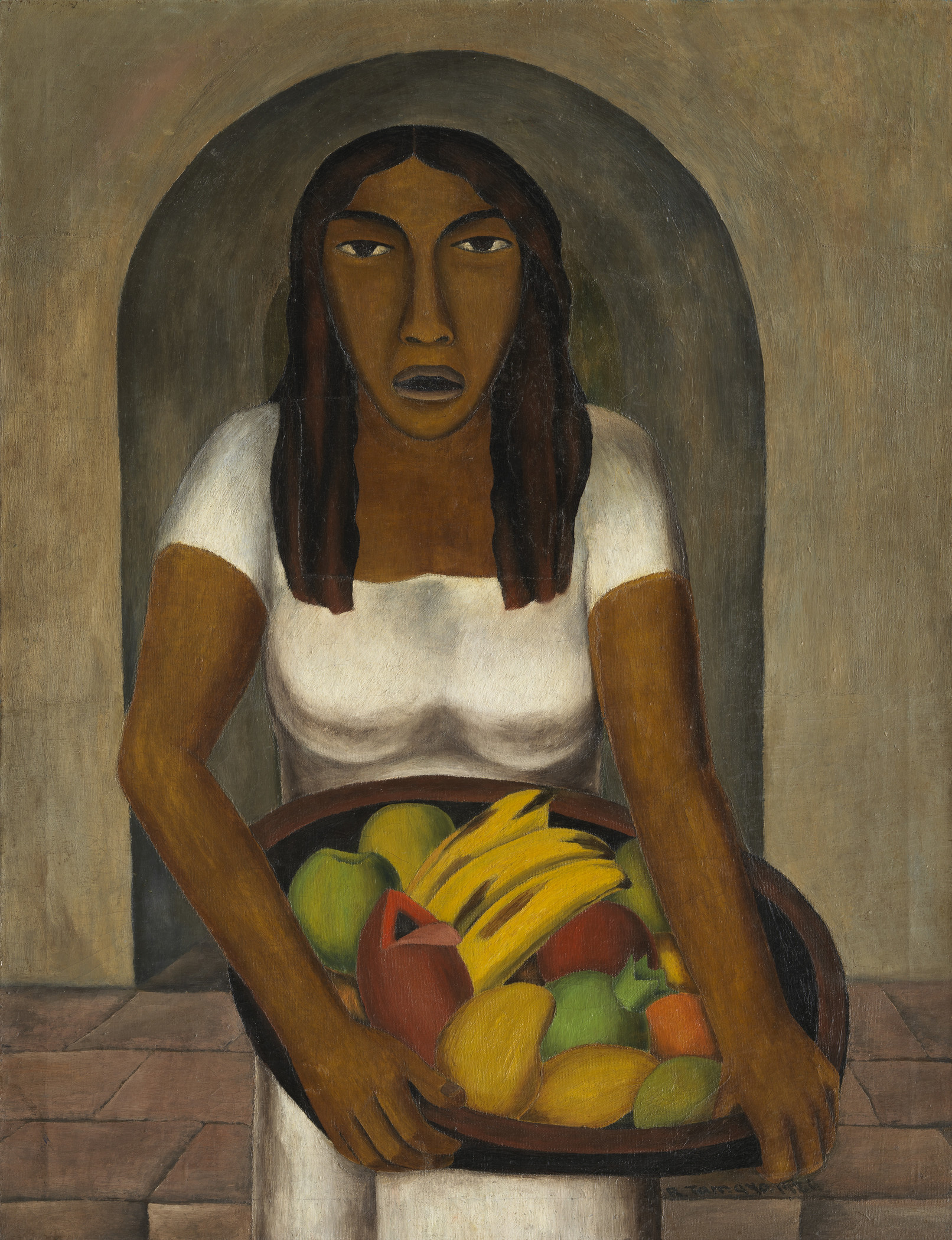 Rufino Tamayo, Woman with Fruit Basket (Mujer con canasta de frutas), 1926, Los Angeles County Museum of Art, The Bernard and Edith Lewin Collection of Mexican Art, Art © Tamayo Heirs/Mexico/Licensed by VAGA, at Artists Rights Society (ARS), NY, photo © Museum Associates/LACMA