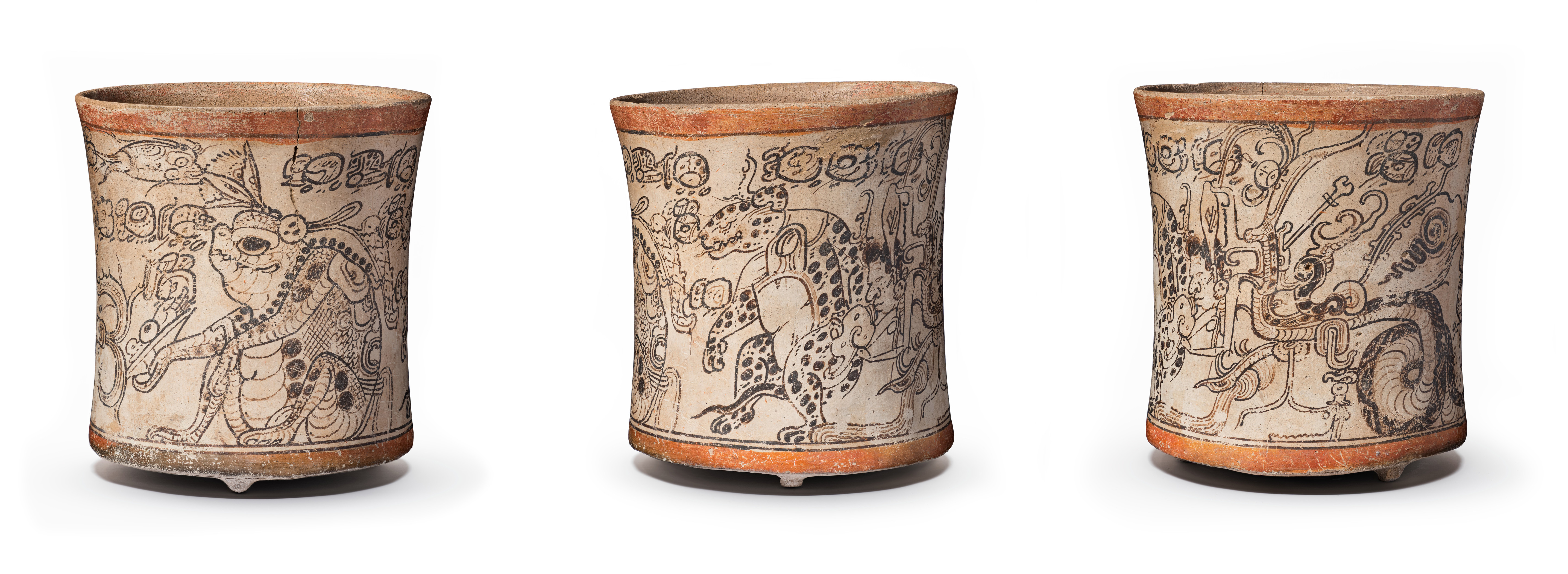 Drinking vessel depicting Otherworldly Toad, Jaguar, and Serpent, Maya, 650–800, Los Angeles County Museum of Art, gift of the 2006 Collectors Committee, photo © Museum Associates/LACMA. Three views highlighting the three personages depicted on the vase's surface.