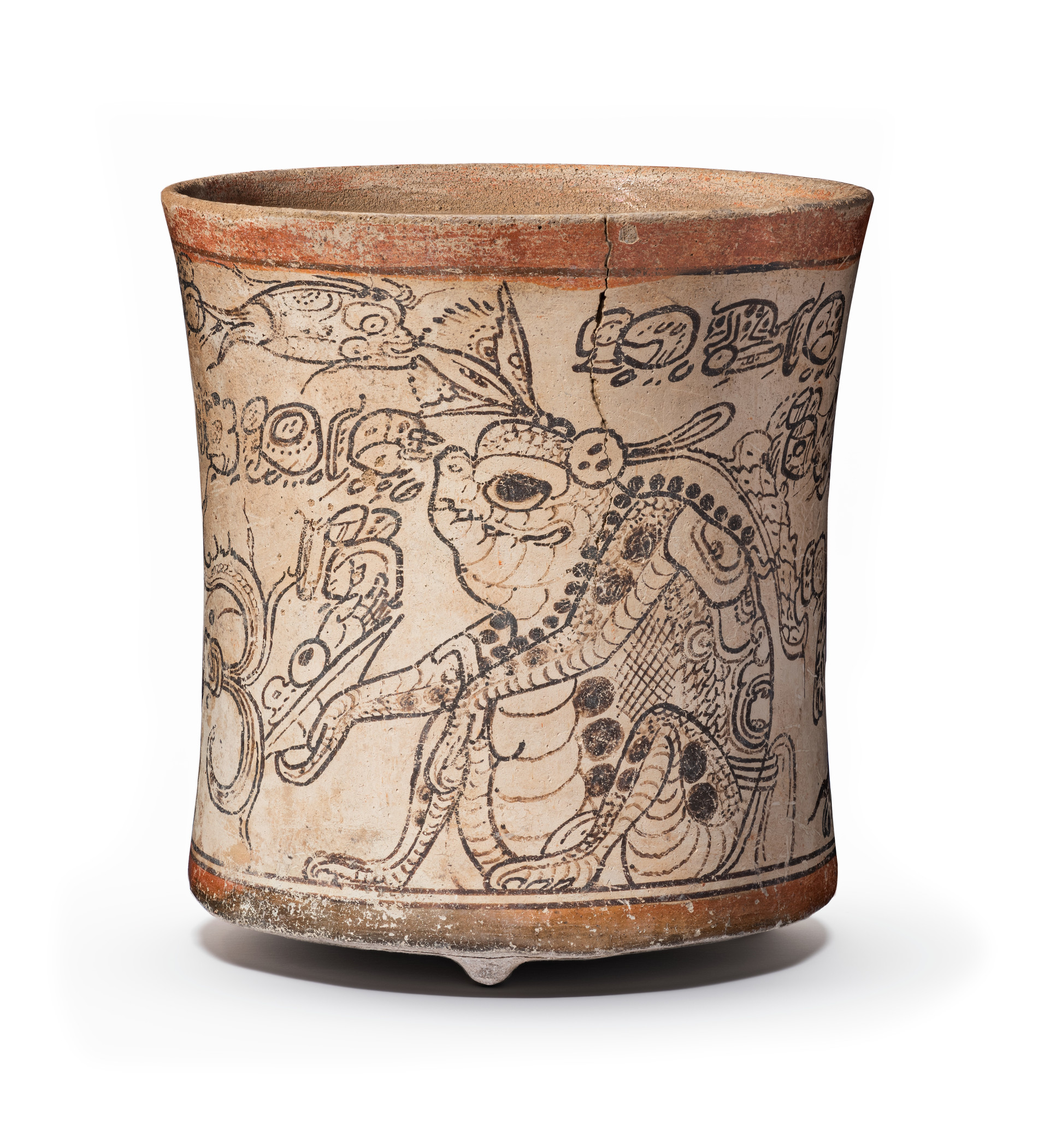 Drinking vessel depicting Otherworldly Toad, Jaguar, and Serpent, Maya, 650–800, Los Angeles County Museum of Art, gift of the 2006 Collectors Committee, photo © Museum Associates/LACMA