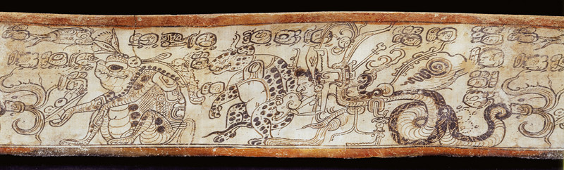 Rollout view of Drinking vessel depicting Otherworldly Toad, Jaguar, and Serpent, Maya, 650–800, Los Angeles County Museum of Art, gift of the 2006 Collectors Committee, photo © Museum Associates/LACMA