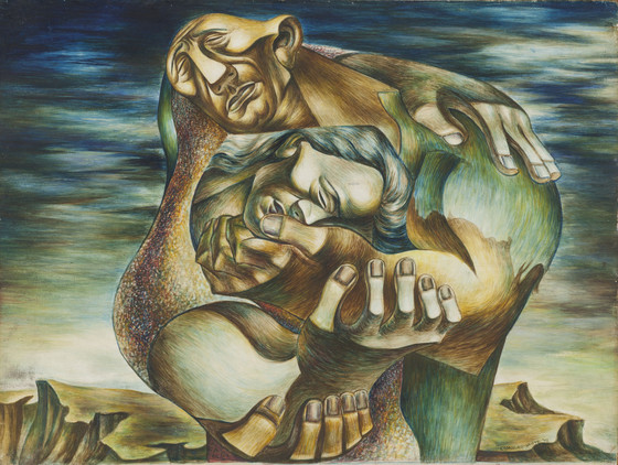 Charles White, The Embrace, 1942, Los Angeles County Museum of Art, Bequest of Fannie and Alan Leslie, © The Charles White Archives, photo © Museum Associates/LACMA
