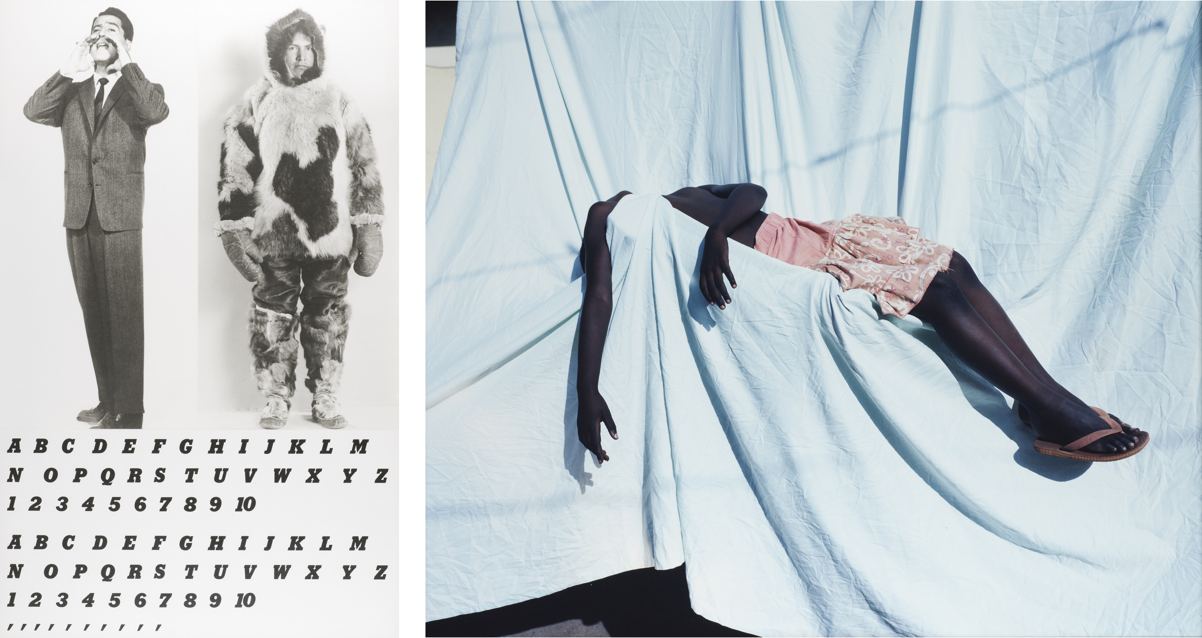 Left: John Baldessari, Two Men with Alphabets, 1984, Los Angeles County Museum of Art, gift of Judy and Stuart Spence, © John Baldessari, digital image © Museum Associates/LACMA; Right: Viviane Sassen, Belladonna, 2010, printed 2011, Los Angeles County Museum of Art, purchased with funds provided by the Ralph M. Parsons Fund and the Photographic Arts Council, 2011, photo © Museum Associates/LACMA