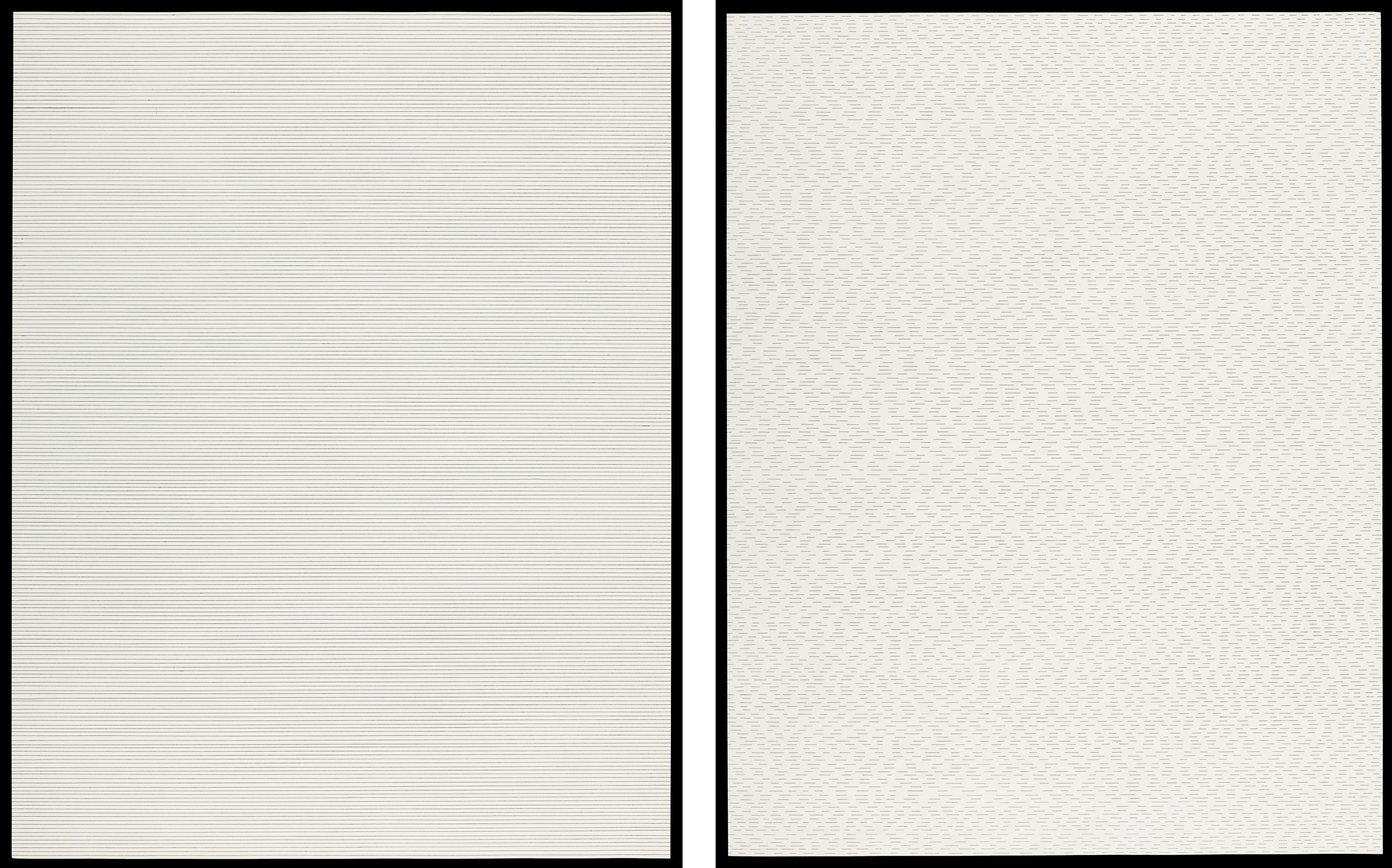 Left: Sol LeWitt, STRAIGHT LINES, 1973, Los Angeles County Museum of Art, purchased with funds provided by Wellington D. Watters, © Sol LeWitt Estate / Artists Rights Society (ARS), New York, photo © Museum Associates/LACMA; Right: Sol LeWitt, NOT-STRAIGHT LINES, 1973, Los Angeles County Museum of Art, purchased with funds provided by Wellington D. Watters, © Sol LeWitt Estate / Artists Rights Society (ARS), New York, photo © Museum Associates/LACMA