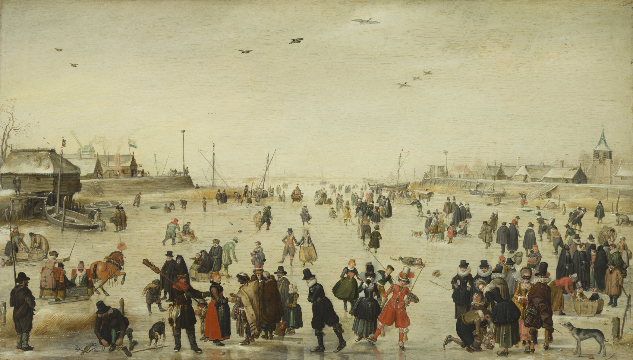Hendrick Avercamp, Winter Scene on a Frozen Canal, c. 1620, Los Angeles County Museum of Art, partial gift of Mr. and Mrs. Edward William Carter and purchased with funds provided by The Ahmanson Foundation, the Paul Rodman Mabury Collection, the William Randolph Hearst Collection, the Michael J. Connell Foundation, the Marion Davies Collection, Mr. and Mrs. Lauritz Melchior, Mr. and Mrs. R. Stanton Avery, the Estate of Anita M. Baldwin by exchange, and Hannah L. Carter, photo © Museum Associates/LACMA