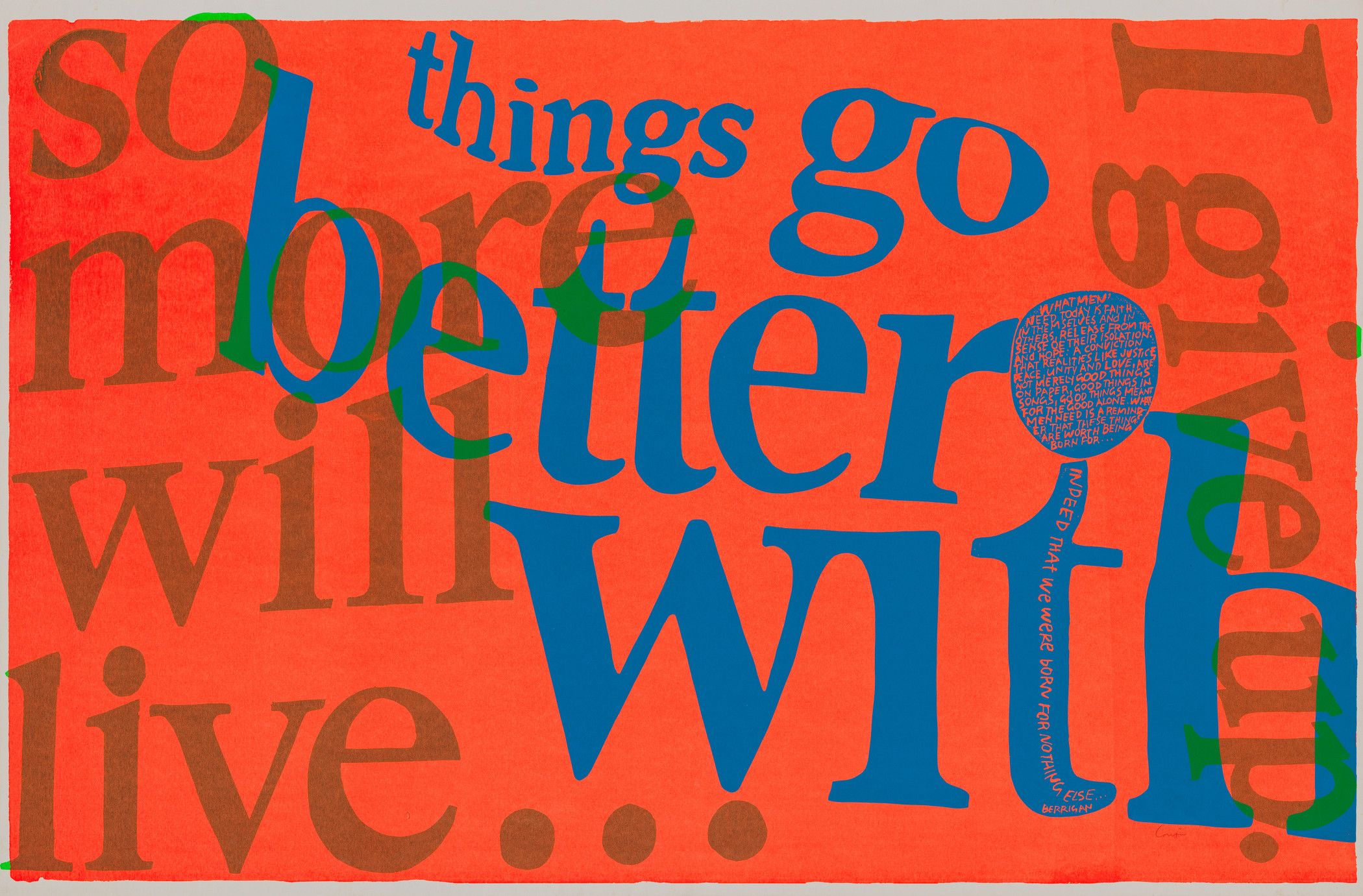 Corita Kent, things go better with, 1967, Los Angeles County Museum of Art, gift of Evgenia Citkowitz and Julian Sands, © Corita Art Center, photo © Museum Associates/LACMA