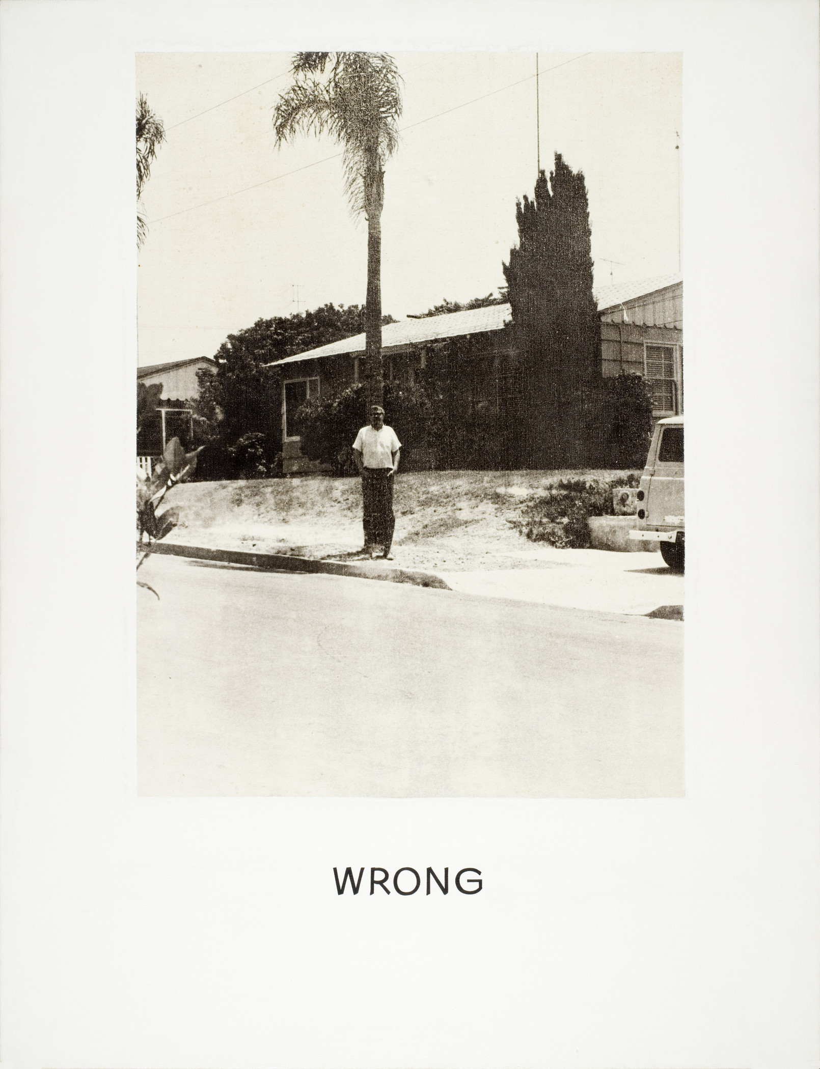 Photograph of a man standing under a palm tree with the words Wrong on the bottom