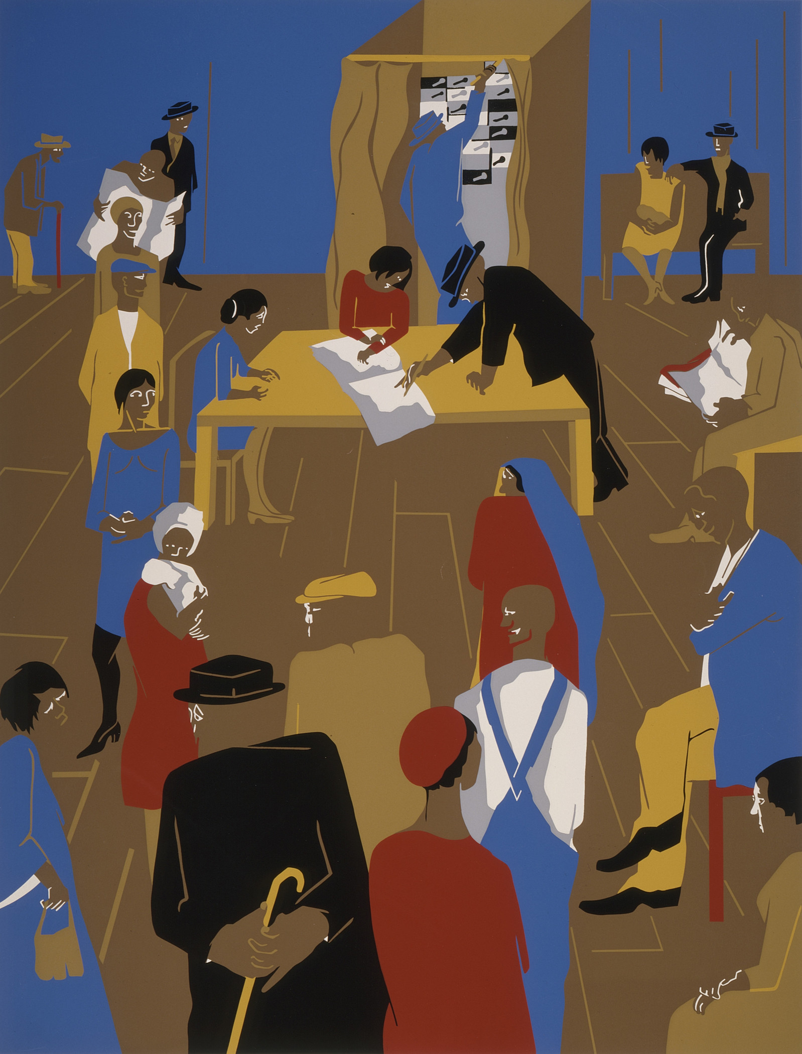 Jacob Lawrence, The 1920's...The Migrants Arrive and Cast Their Ballots, 1974, Los Angeles County Museum of Art, gift of the Lorillard Company, © The Jacob and Gwendolyn Knight Lawrence Foundation, Seattle/Artists Rights Society (ARS), New York, photo © Museum Associates/LACMA