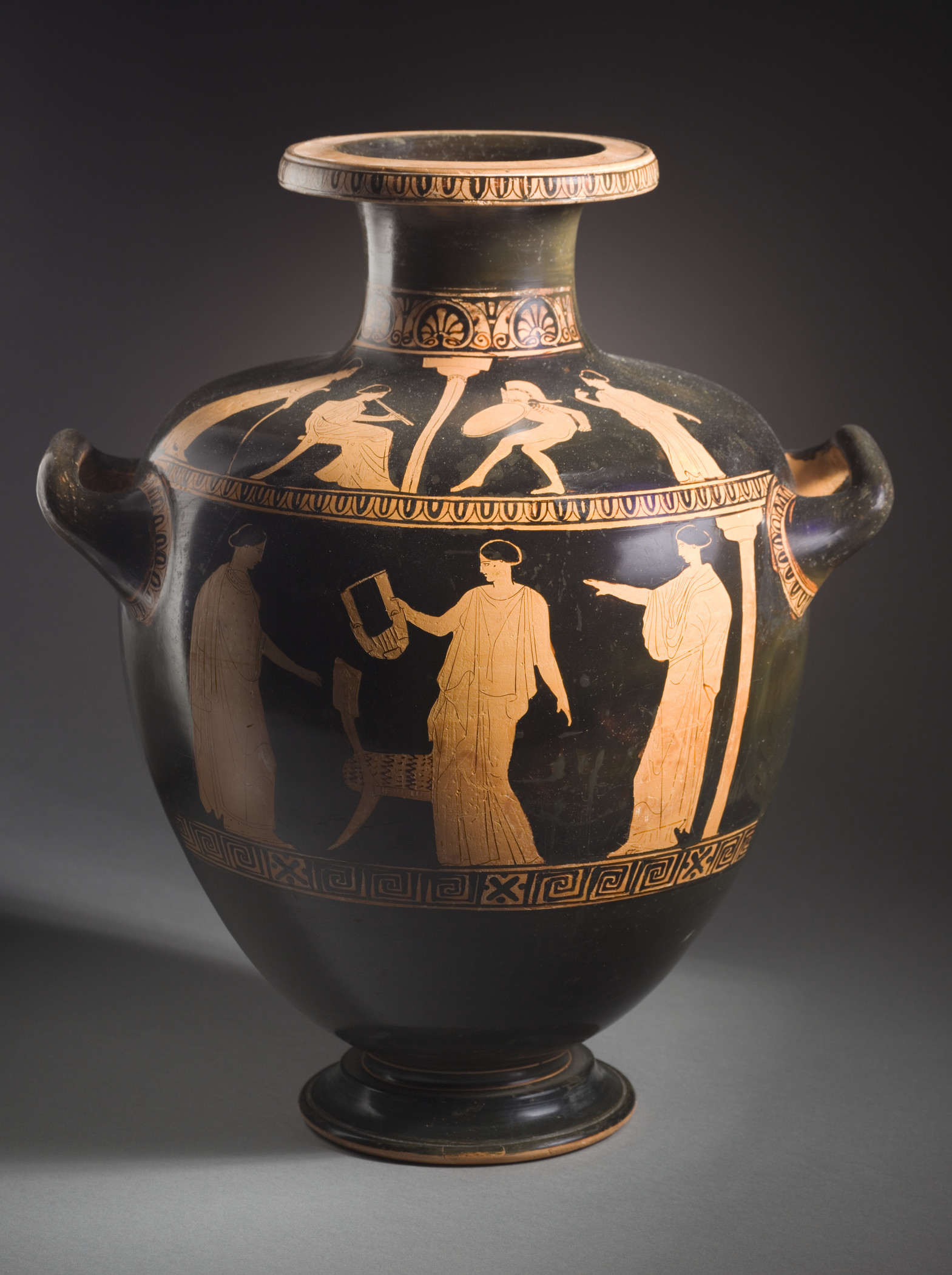Red-Figure Hydria with (shoulder) a Dancing Warrior, Accompanied by a Woman Playing the Pipes, and (body) Two Women Facing a Woman Holding a Kithara, Greece, Athens, c. 440 BCE, Los Angeles County Museum of Art, gift of Mr. and Mrs. Spiros G. Ponty, photo © Museum Associates/LACMA