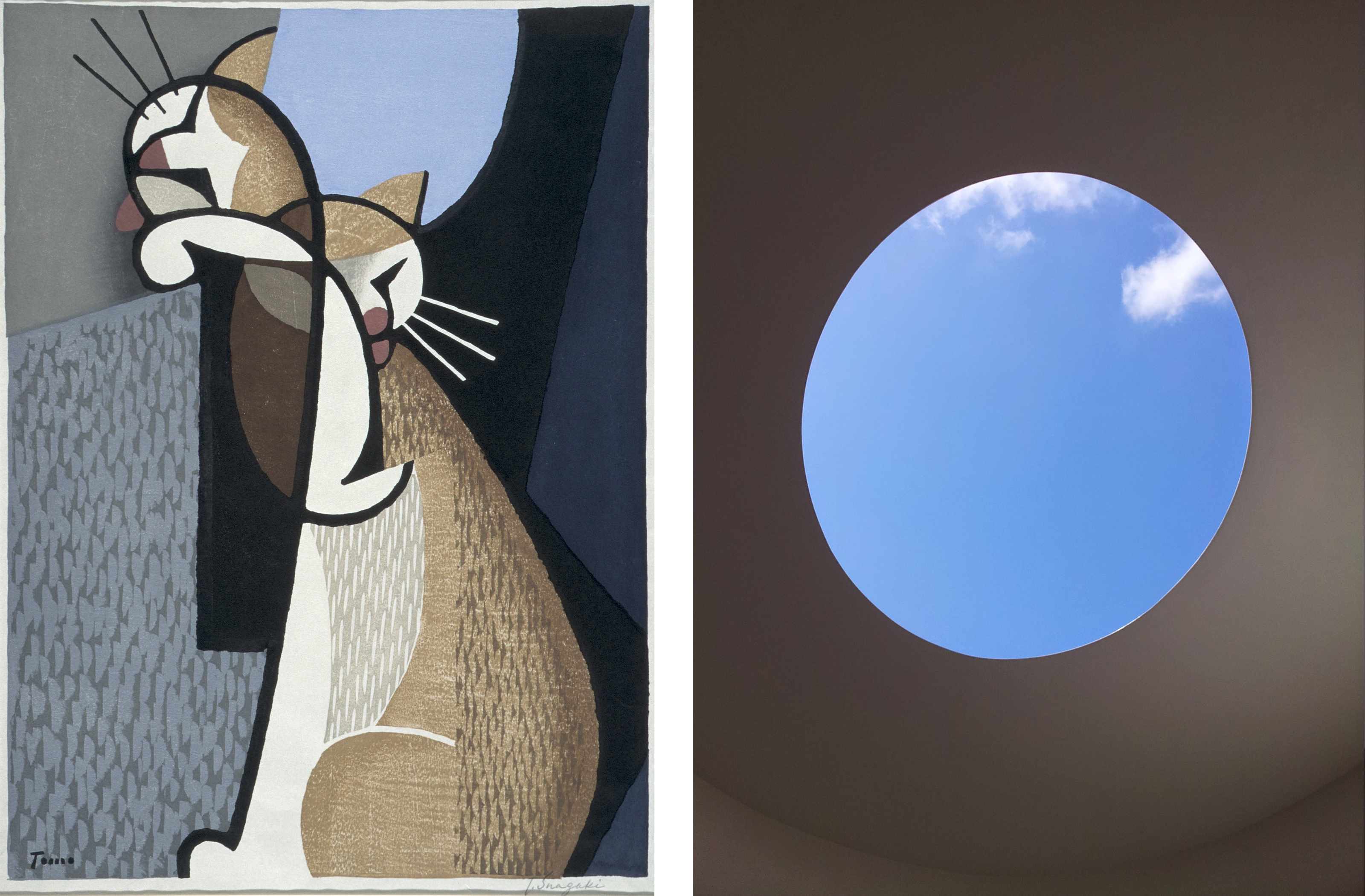 Left: Inagaki Tomoo, Cat Making-up, 1955, Los Angeles County Museum of Art, gift of Mr. and Mrs. Felix Juda, photo © Museum Associates/LACMA; Right: James Turrell, The Color Inside, 2013, © James Turrell, installation view at The University of Texas at Austin. Photo taken by Vivian Lin in 2014.