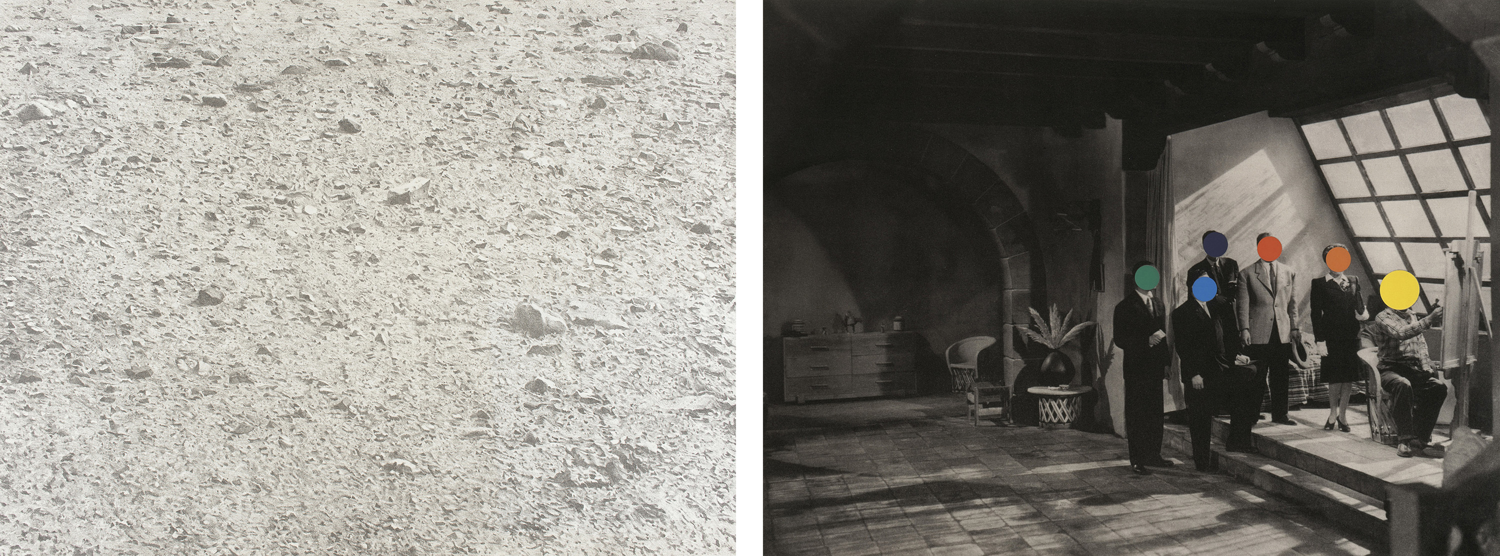 Left: Vija Celmins, Untitled (Desert), 1971, Los Angeles County Museum of Art, gift of Iris and Allen Mink, © Vija Celmins, photo © Museum Associates/LACMA; Right: John Baldessari, Studio, 1988, Los Angeles County Museum of Art, Cirrus Editions Archive, purchased with funds provided by the Graphic Arts Council, and gift of Cirrus Editions, © Estate of John Baldessari, digital image © Museum Associates/LACMA