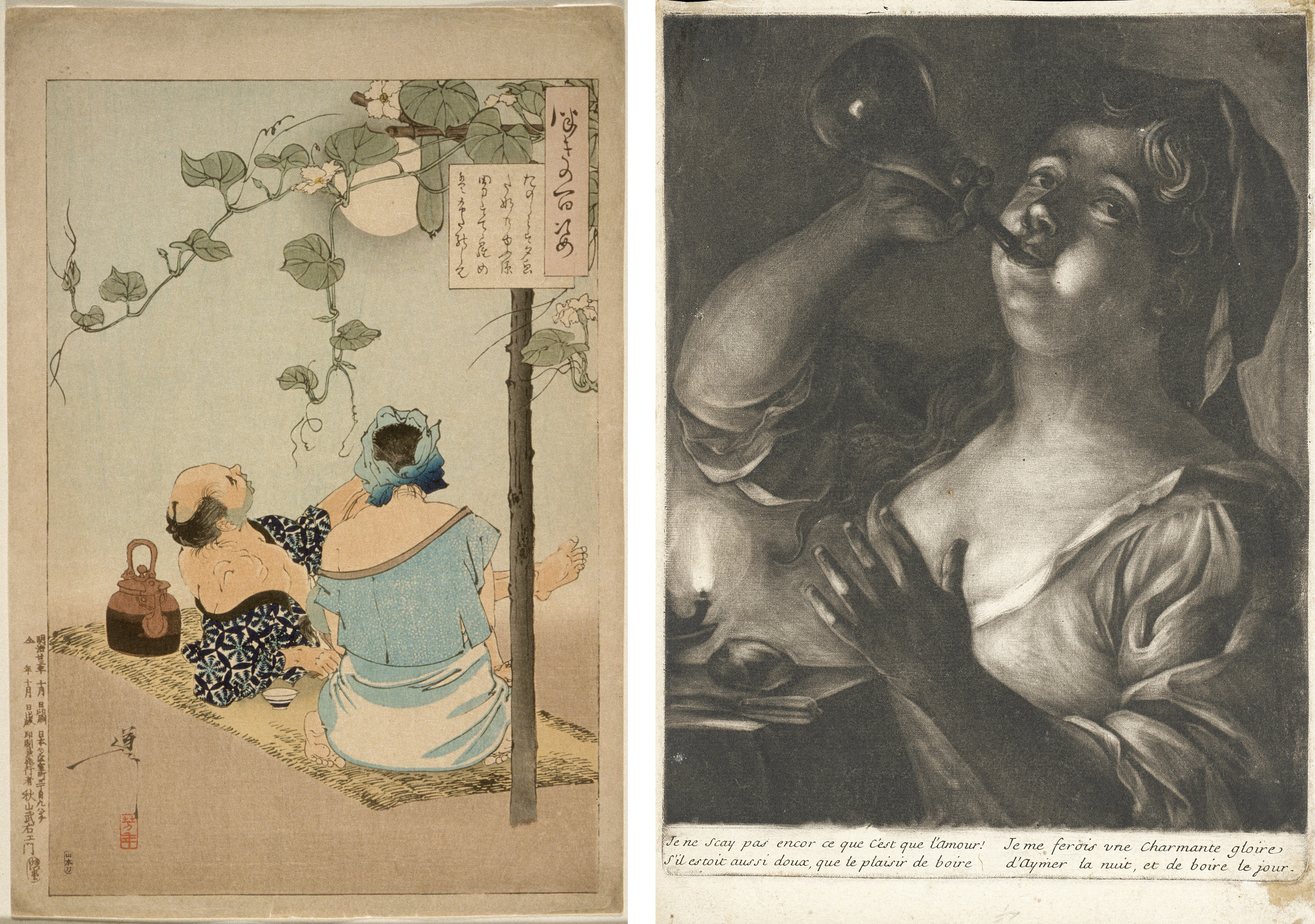 Left: Tsukioka Yoshitoshi, A Couple Enjoying the Flowering Evening Face Arbor, 1886, September, Los Angeles County Museum of Art, Herbert R. Cole Collection, photo © Museum Associates/LACMA; Right: Girl Drinking from a Flask by Candlelight, Holland, 17th century, Los Angeles County Museum of Art, Los Angeles County Fund, photo © Museum Associates/LACMA
