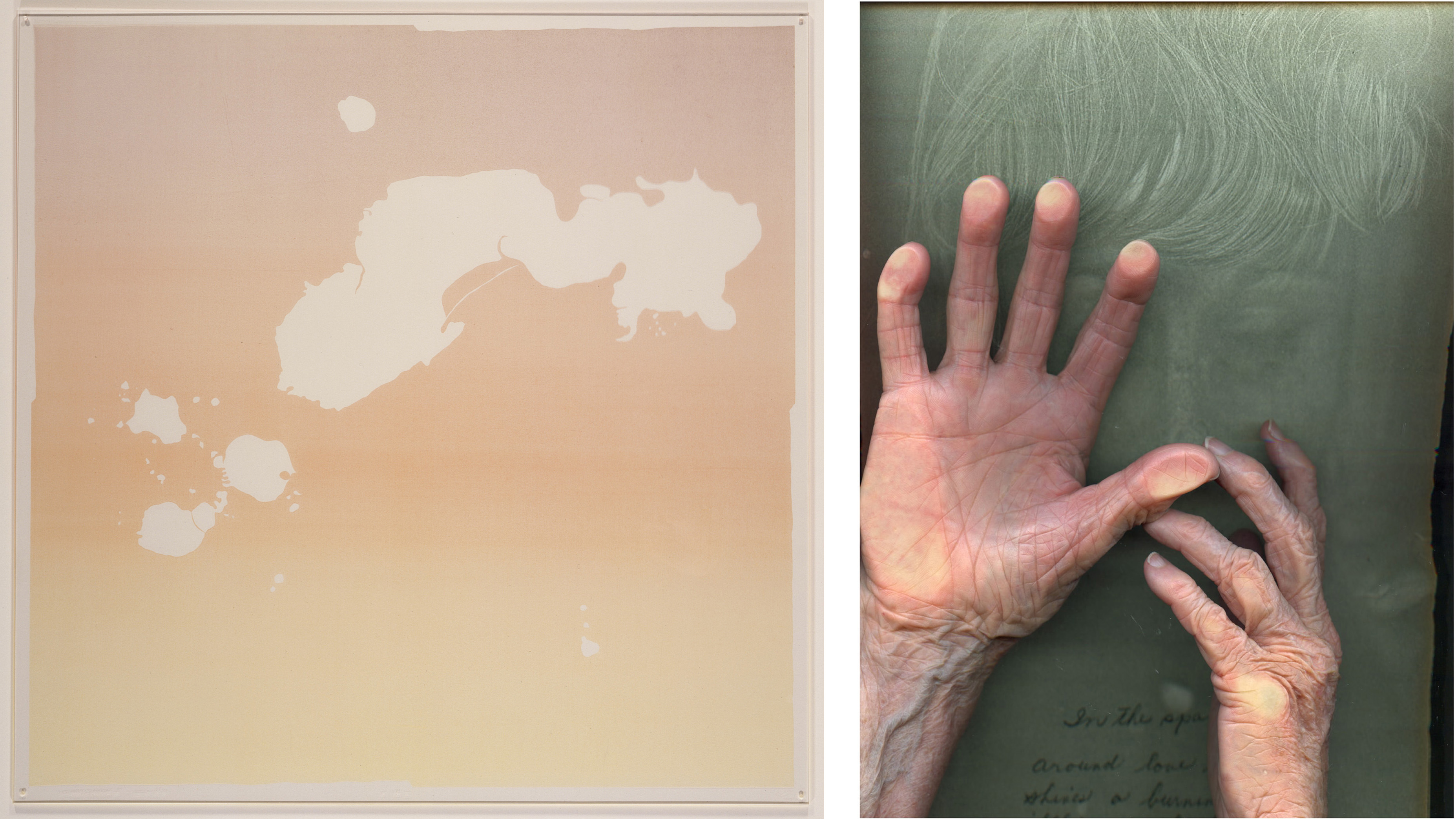 Left: Gregory Card, + 卍 -, 1971, Los Angeles County Museum of Art, Cirrus Editions Archive, purchased with funds provided by the Director's Roundtable, and gift of Cirrus Editions, © 2020 Gregory Card/Artists Rights Society (ARS), New York, photo © Museum Associates/LACMA; Right: Barbara T. Smith, Signifer 1, 2016, © Barbara T. Smith, photo courtesy Cirrus Editions