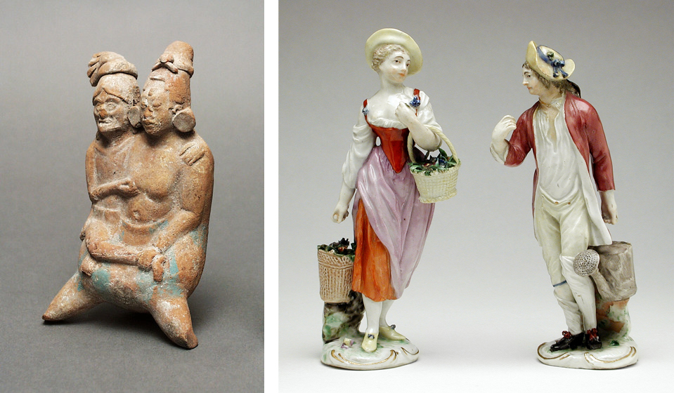 Left: Couple in the Form of a Whistle, Mexico, Yucatan Peninsula, Campeche, Jaina Island, Maya, 600–900, Los Angeles County Museum of Art, gift of Constance McCormick Fearing, photo © Museum Associates/LACMA; Right: Pair of Figures, France, Niderviller, late 18th century, Los Angeles County Museum of Art, gift of Dr. Jean Delacour, photo © Museum Associates/LACMA