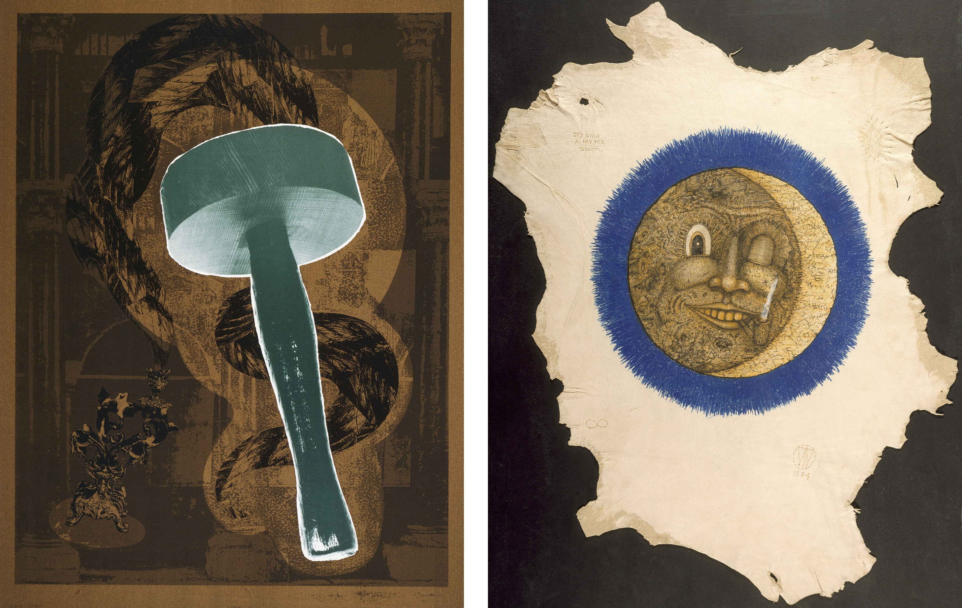 Left: Jill Giegerich, Soma II, 1990, © Jill Giegerich; Right: William T. Wiley, It's Only a Pay Per Moon, 1974, © William T. Wiley. Both images: Los Angeles County Museum of Art, Cirrus Editions Archive, purchased with funds provided by the Director's Roundtable, and gift of Cirrus Editions, photo © Museum Associates/LACMA