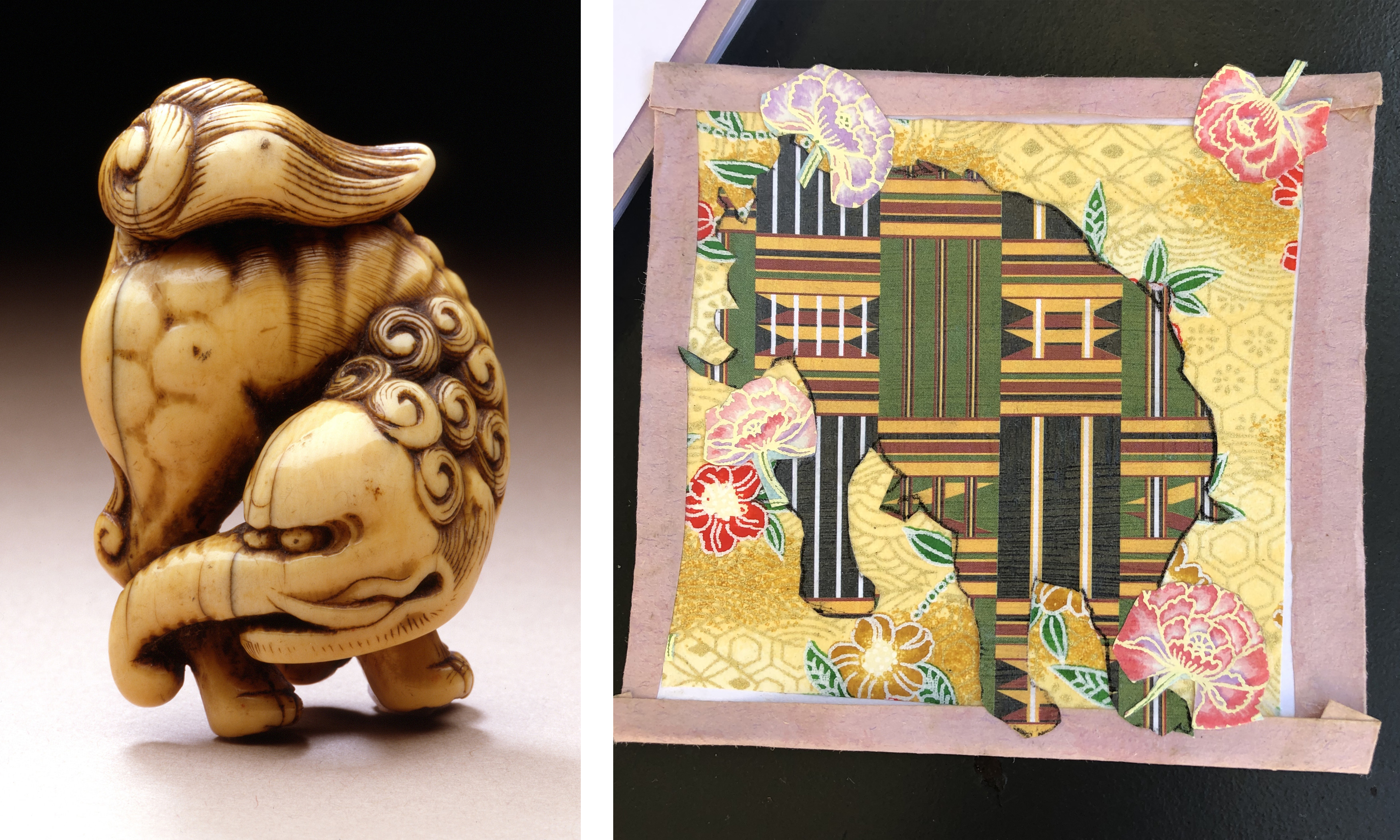 Left: Baku, Japan, 18th century, Los Angeles County Museum of Art, Raymond and Frances Bushell Collection, photo © Museum Associates/LACMA; Right: Young artist's Baku creation in Elonda Norris's workshop at Andell Family Sundays