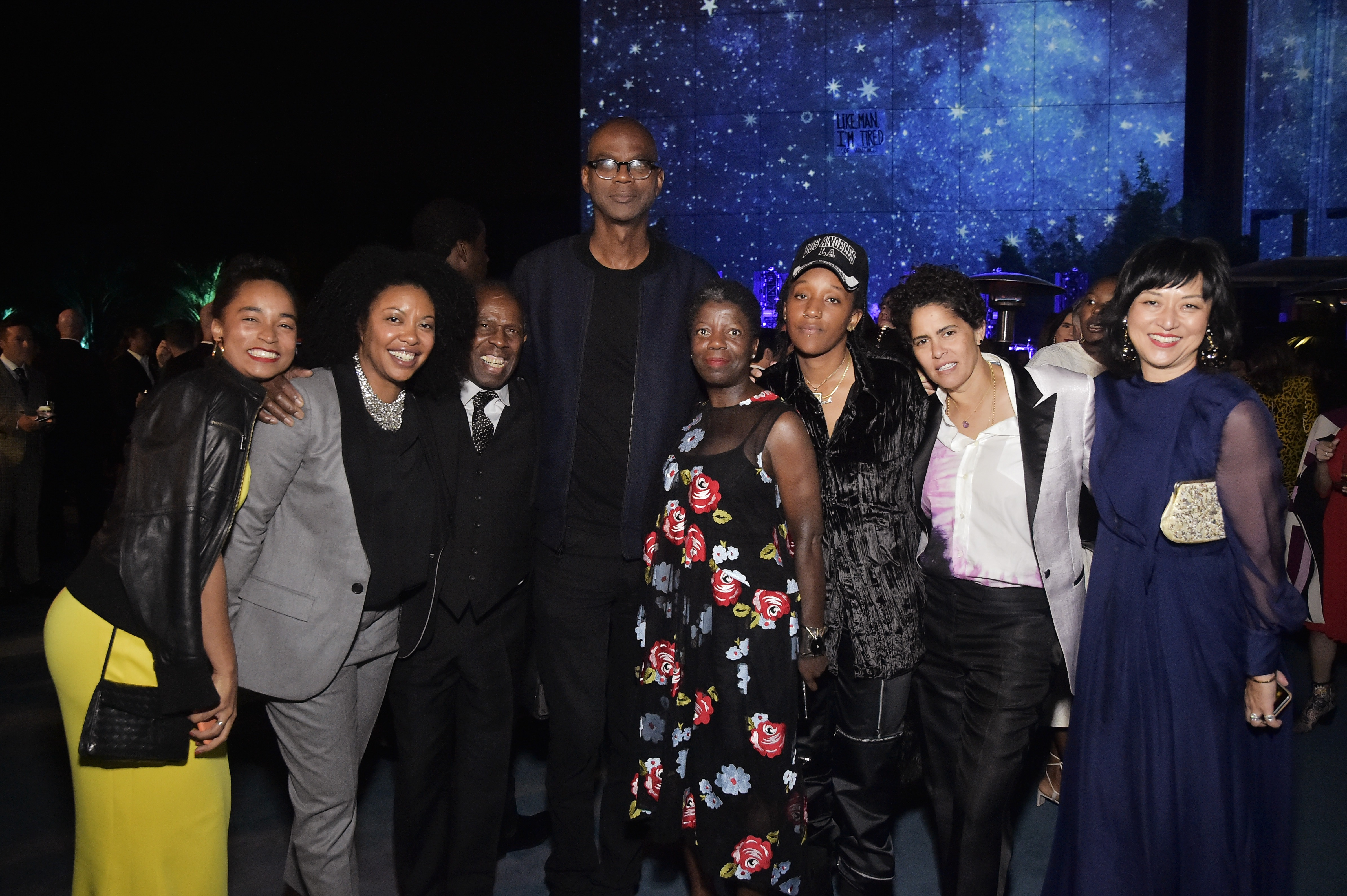 Rujeko Hockley, Adrienne Edwards, Charles Gaines, Mark Bradford, Thelma Golden, Lauren Halsey, Julie Mehretu, and LACMA curator Christine Y. Kim, photo by Stefanie Keenan/Getty Images for LACMA
