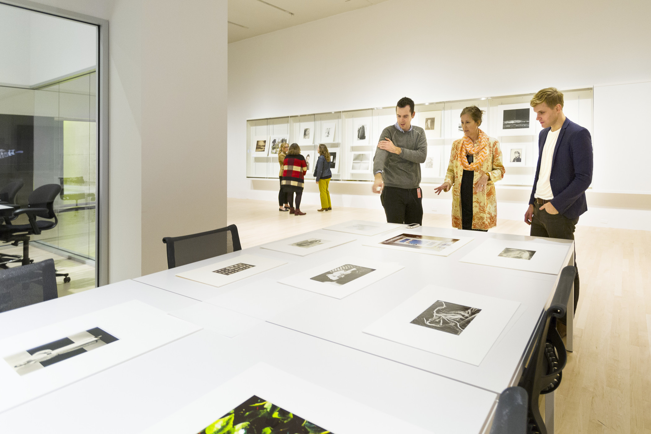 Eve Schillo with visitors in the Study Center for Photography and Works on Paper at the Los Angeles County Museum of Art, photo © Museum Associates/LACMA