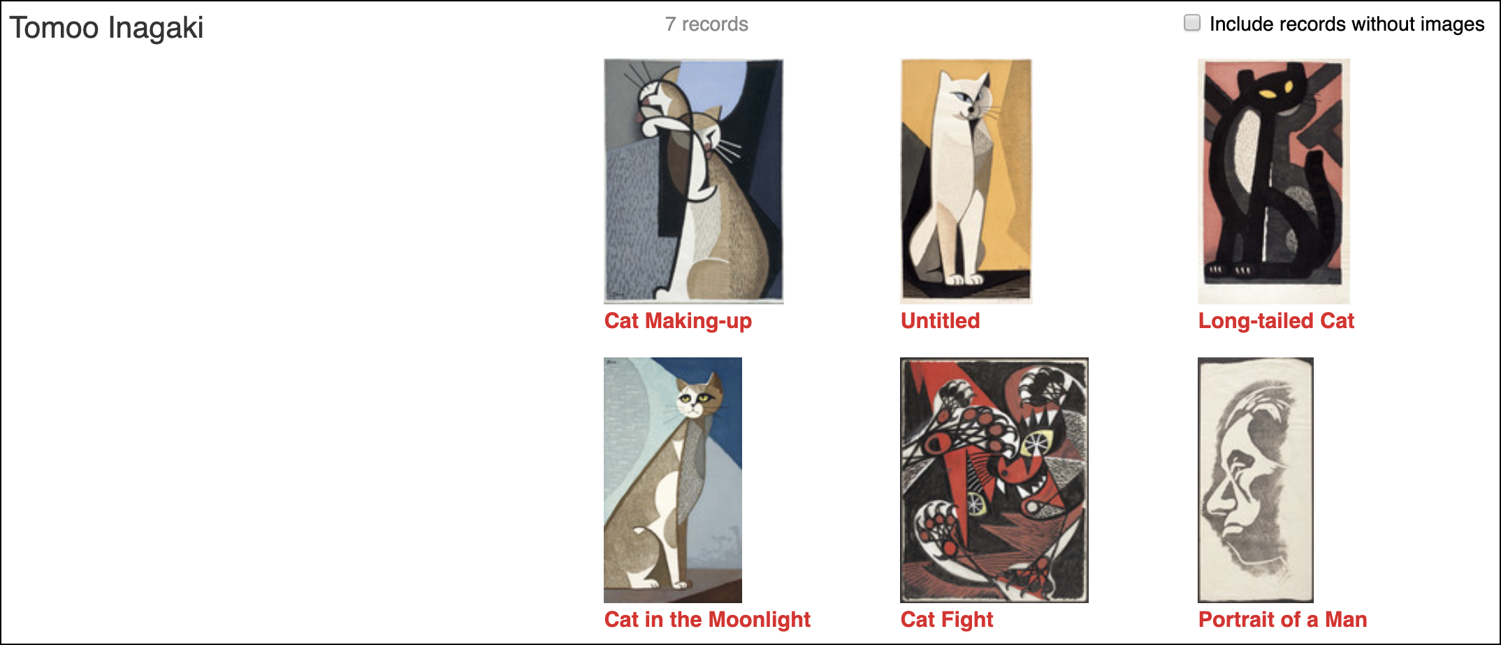 Works by artist Inagaki Tomoo in LACMA's collection database. Clearly he was a fan of felines!