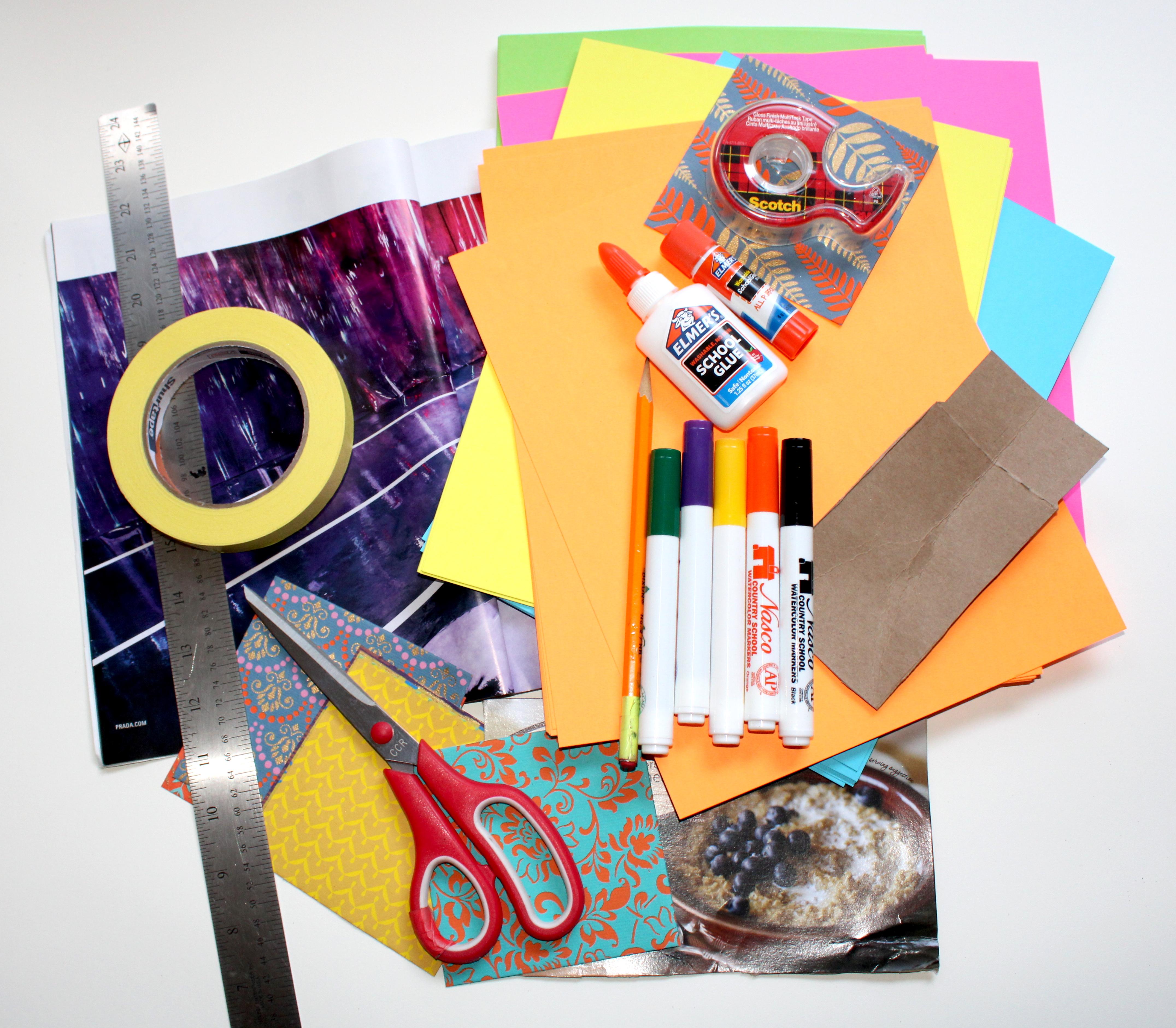 Invite your art mate to help you scavenge around the house to collect cool papers to work with!