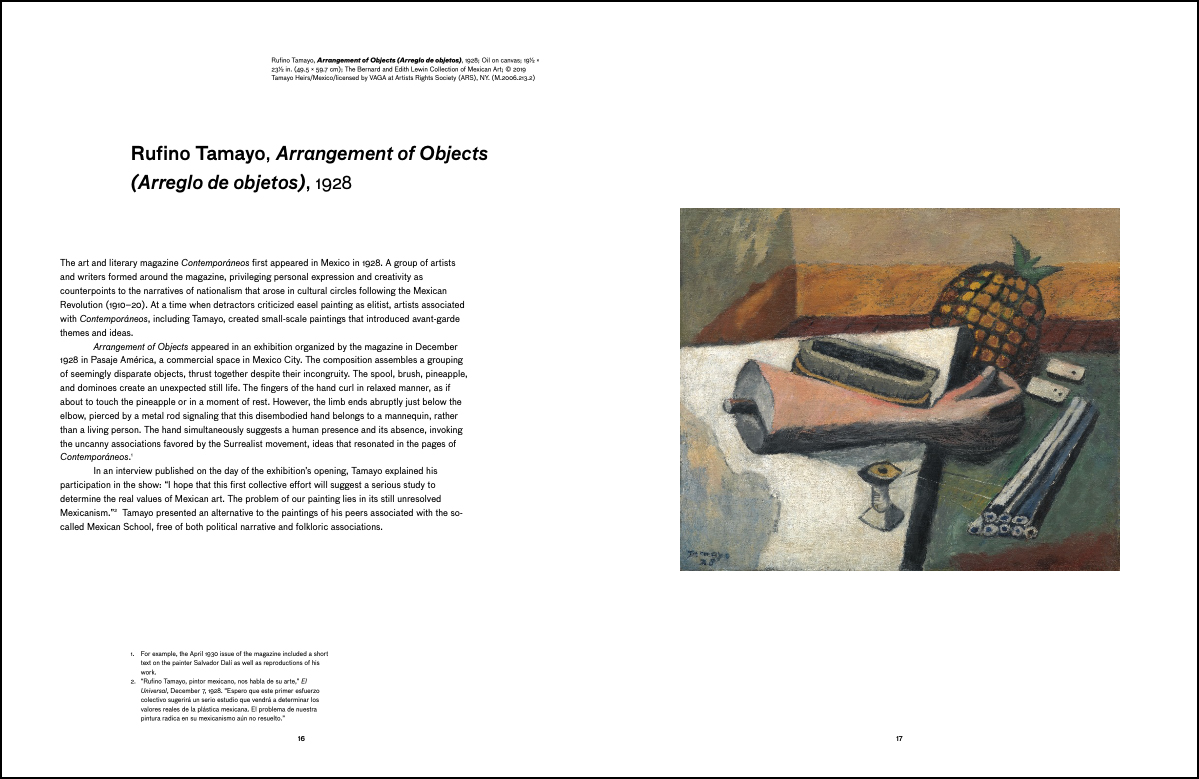 Interior spread from Rufino Tamayo: The Essential Figure, art © 2020 Tamayo Heirs/Mexico/Artists Rights Society (ARS), New York