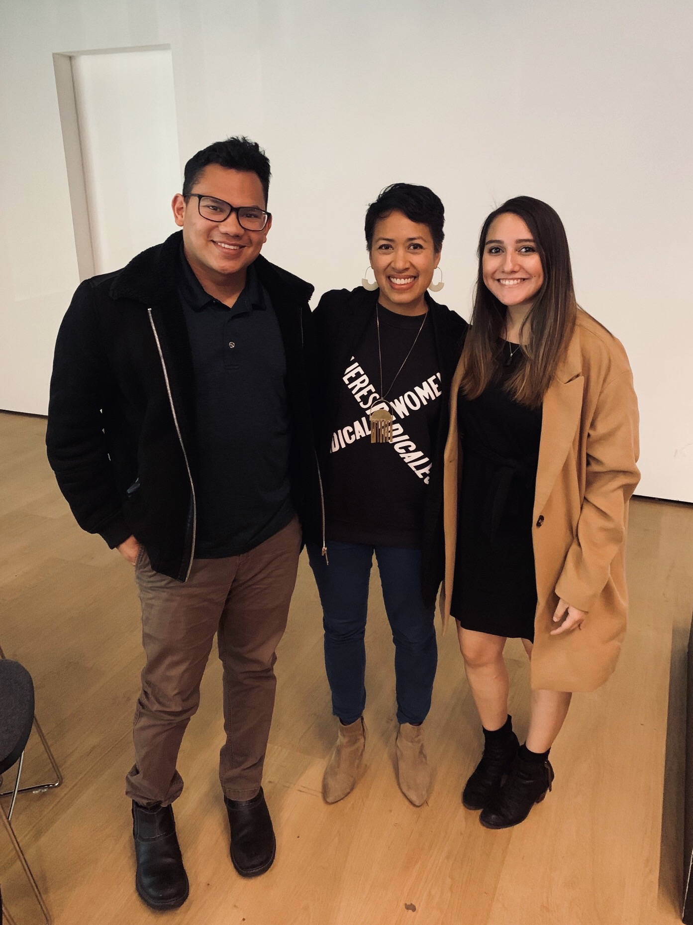 From left to right: 2018–20 LEAP Fellow Adrienne Adams; Associate Director, Academic Programs, Hammer Museum Theresa Sotto; and 2019–20 LEAP Fellow Deliasofia Zacarias, photo: Deliasofia Zacarias