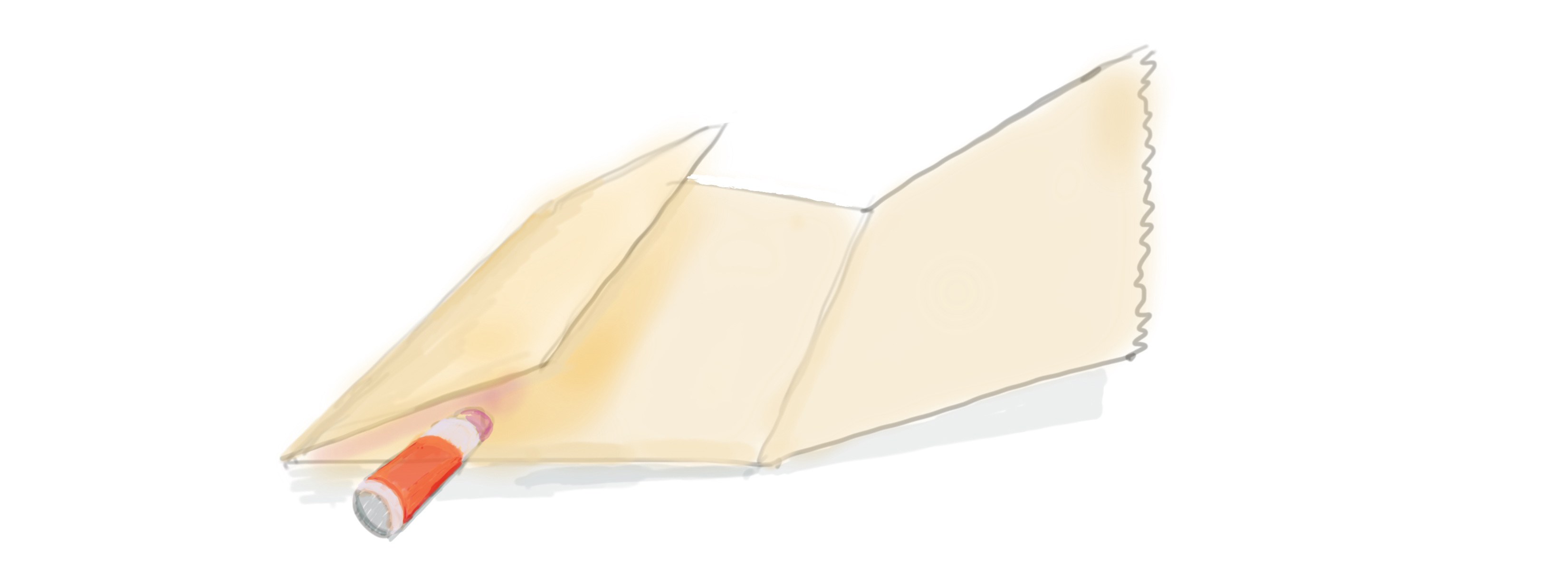 drawing of gluing the flap of the bag down