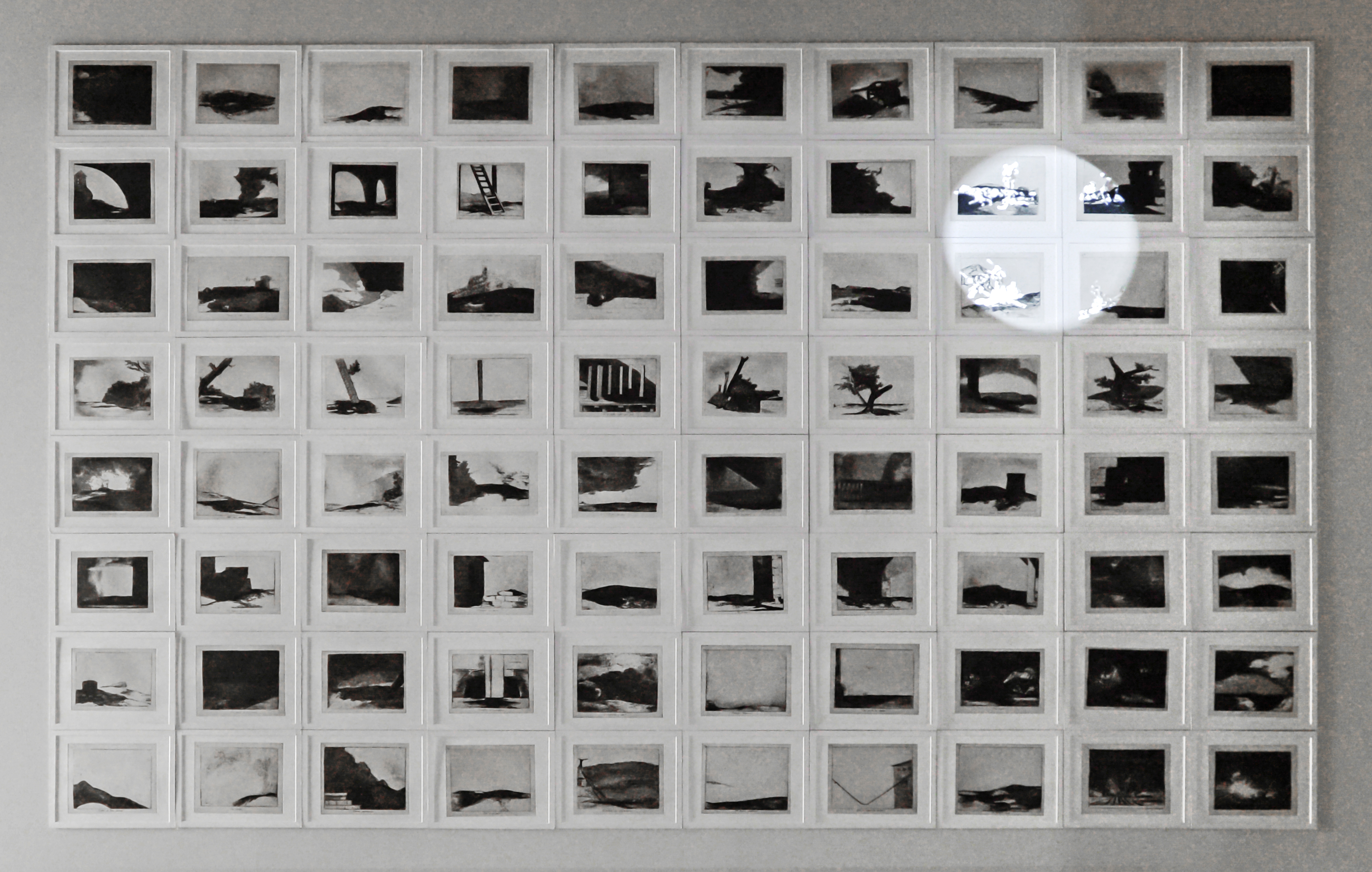 Farideh Lashai, When I count, there are only you…, But when I look, there is only a shadow, 2012–13, projection of animated images on a suite of 80 original photo-intaglio prints, gift of the 2019 Collectors Committee, © Estate of Farideh Lashai