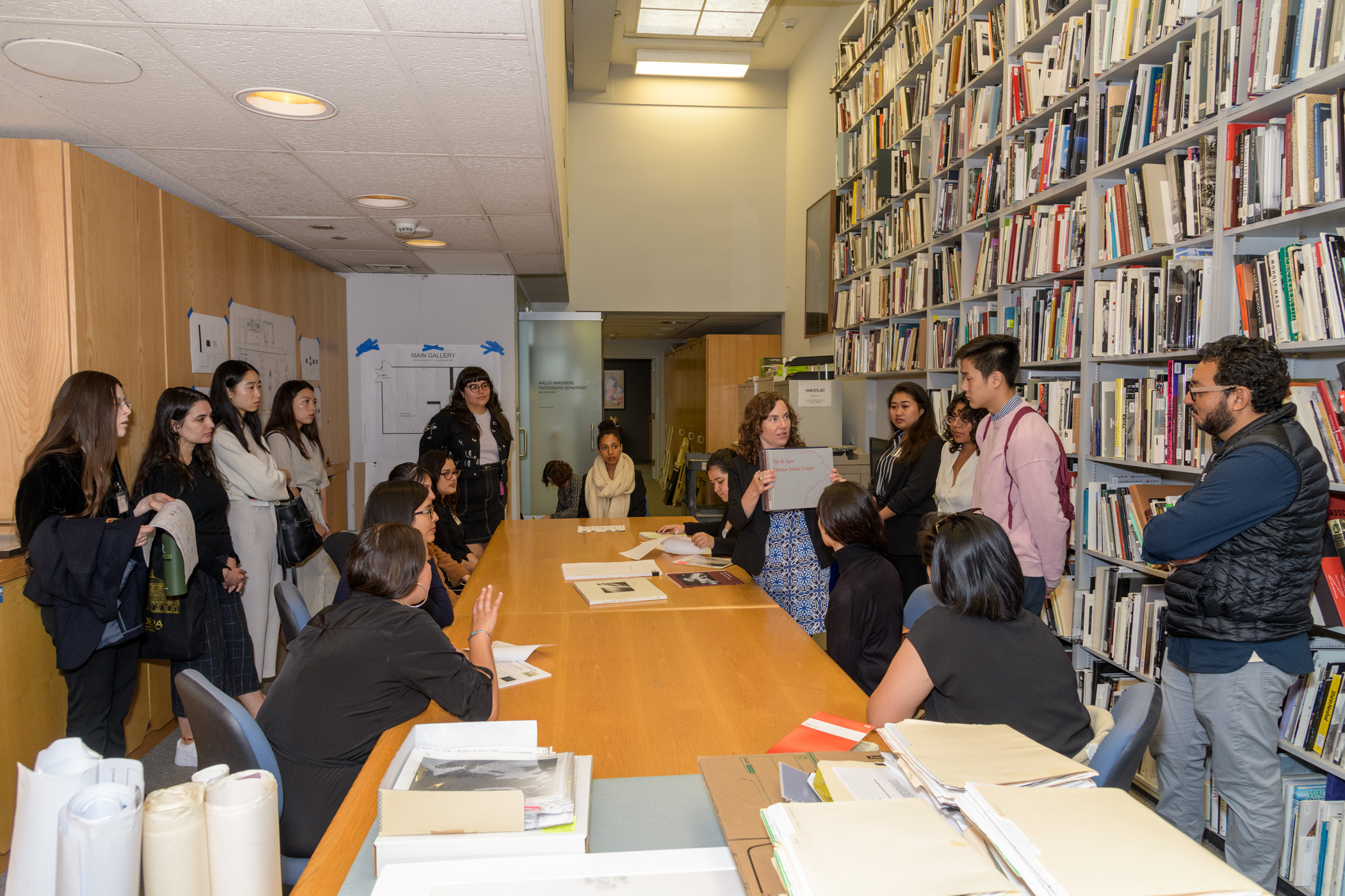 2019 Mellon Summer Academy participants with curator Rebecca Morse in LACMA's Photography Department offices, photo © Museum Associates/LACMA
