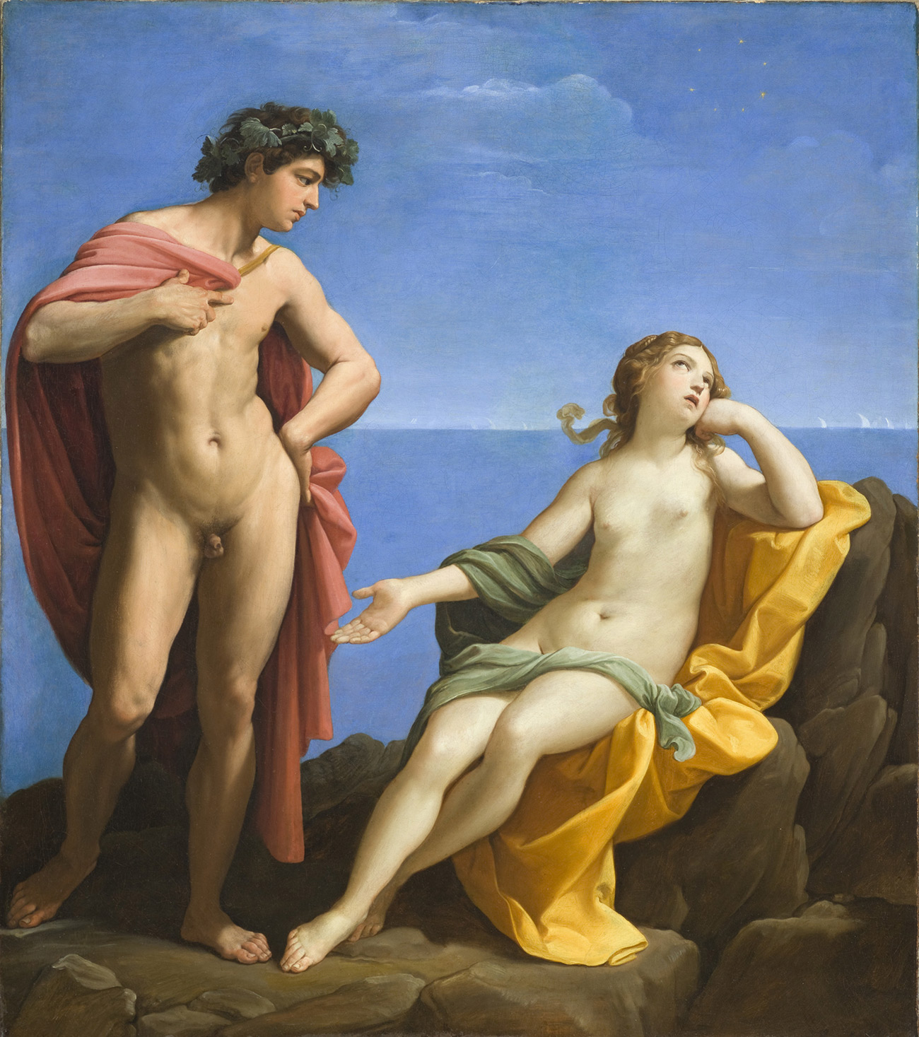 A nude young man stands to the left, with a red cloak around his shoulder, while a nude young woman reclines on a gold cloak on an outcropping of rocks next to the sea