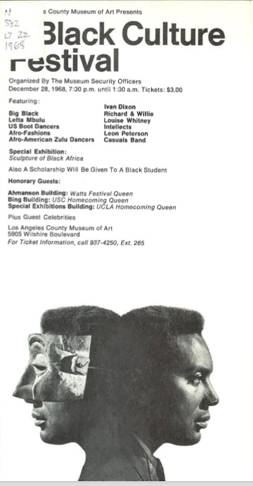 Flyer for A Black Culture Festival (1968) at LACMA