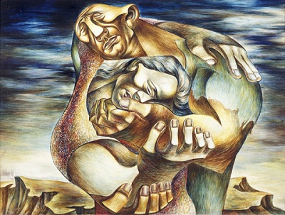 Charles White, The Embrace, 1942, bequest of Fannie and Alan Leslie, © Charles White