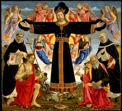 Master of the Fiesole Epiphany, Christ on the Cross with Saints Vincent Ferrer, John the Baptist, Mark and Antoninus, c. 1491–95, gift of the Ahmanson Foundation