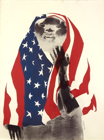 David Hammons, America the Beautiful, 1968. Lithograph and body print. 39 x 29 1⁄2 in. (99.1 x 74.9 cm). Oakland Museum, Oakland Museum Founders Fund. Included in Now Dig This! Art and Black Los Angeles 1960–1980.