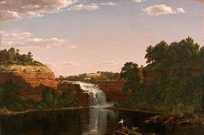 Frederic Edwin Church, Lower Falls, Rochester, 1849, signed and dated lower left: F.E. CHURCH 1849, gift of Charles C. and Elma Ralphs Shoemaker