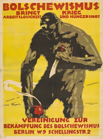 Julius Ussy Engelhard, Bolschewismus bringt Krieg, Arbeitslosigkeit und Hungersnot (Bolshevism Brings War, Unemployment, and Famine), 1918, lithograph printed in red, yellow, brown, and black on wove paper, Gift of the Robert Gore Rifkind Collection, Beverly Hills, CA, © Julius Ussy Engelhard Estate