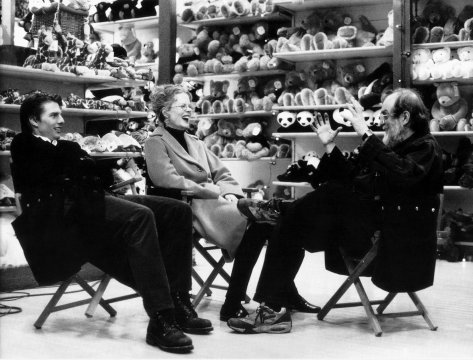 Eyes Wide Shut, directed by Stanley Kubrick, 1999, Tom Cruise, Nicole Kidman, and Stanley Kubrick during a break in shooting on the set. © Warner Bros. Entertainment Inc. Photo: Manuel Harlan