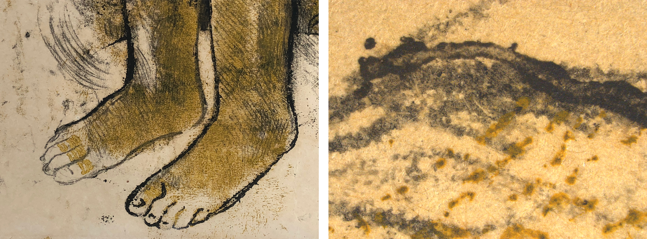 "Paul Gauguin, Eve ['The Nightmare'] (recto); Eve ['The Nightmare'] (verso) (details), c. 1899–1900, The J. Paul Getty Museum, Los Angeles. Left: Detailed image of the feet from Gauguin's The Nightmare, showing the varied and ""fuzzy"" qualities of lines created in the ""oil transfer drawing"" process, image by Madison Brockman; Right: Photomicrograph of the Gauguin, the gray horizontal line shows the typical ""squish"" of ink around the stylus point that can occur with direct trace monotypes, image by Michelle Sullivan"