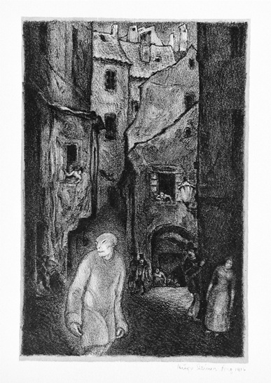 Hugo Steiner Prag, Czechoslovakia, active Germany and United States, 1880–1945, Die Erscheinung des Golem (The Appearance of the Golem), 1915–16, From the portfolio Der Golem (The Golem) lithograph, The Robert Gore Rifkind Center for German Expressionist Studies, M.82.287.68f. © The Estate of Hugo Steiner-Prag, photo © Museum Associates/LACMA.
