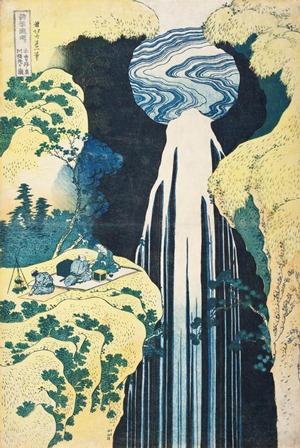 Katsushika Hokusai (Japan, 1760-1849), Amida Falls on the Kiso Highway, circa 1833, Color woodblock print, Image and sheet: 14 ¾ x 9 15/16 in. (37.5 x 25.2 cm), Gift of Max Palevsky, Photo © 2013 Museum Associates/LACMA