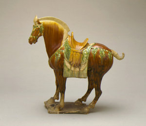 Funerary Sculpture of a Horse China, Middle Tang dynasty, about 700-800 Molded earthenware with molded, applied, and incised decoration and polychrome (sancai) glaze Gift of Nasli M. Heeramaneck (M.73.48.79)