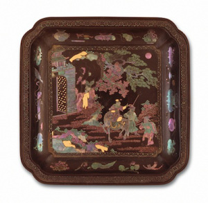 Square Dish (Die) with Figure on Horse China, Chinese, Qing dynasty, Kangxi period, 1662-1722 Black lacquer on wood core with shell and gold leaf inlay Gift of Miss Bella Mabury (M.39.2.569.1)