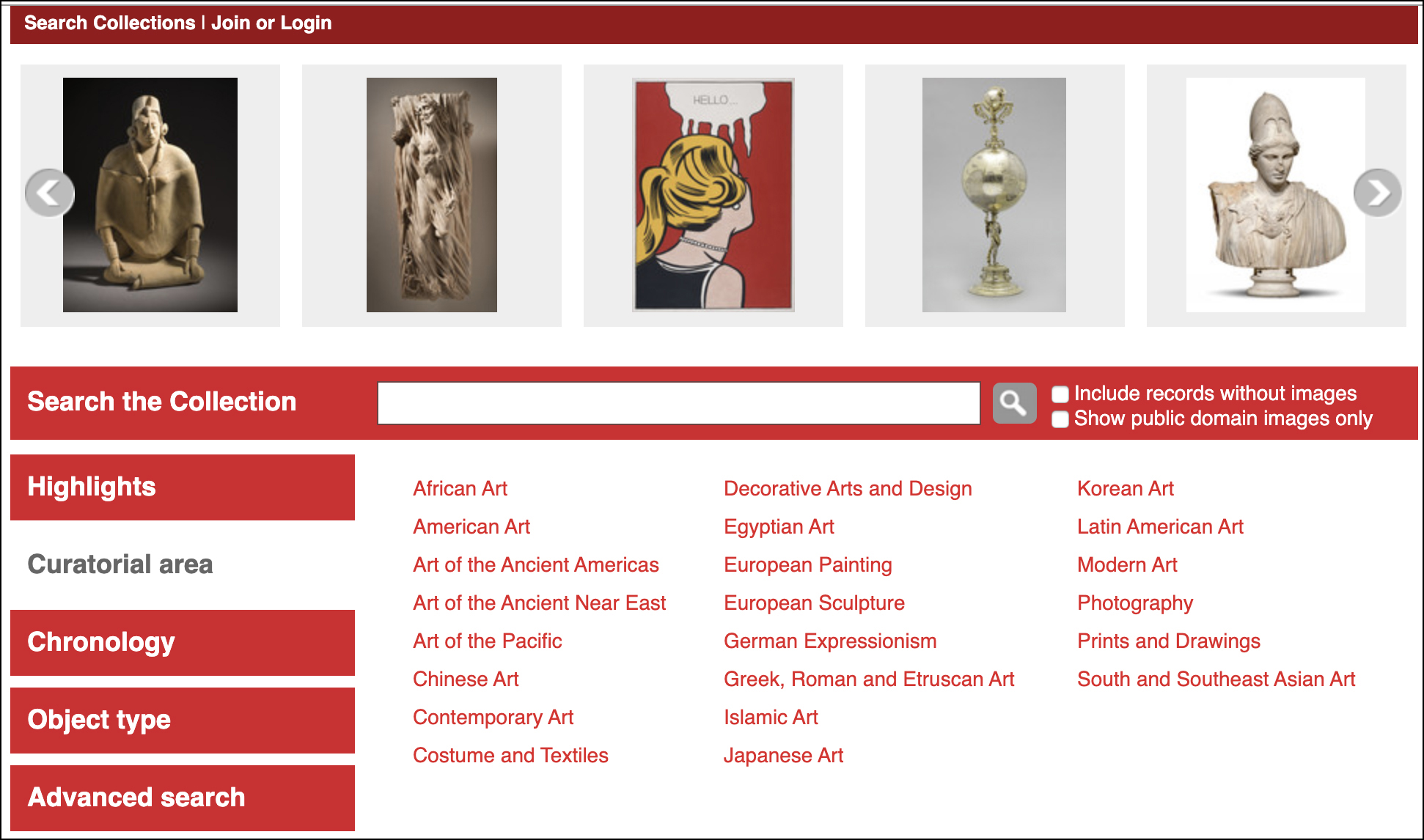 Homepage of LACMA's Collections Online website.