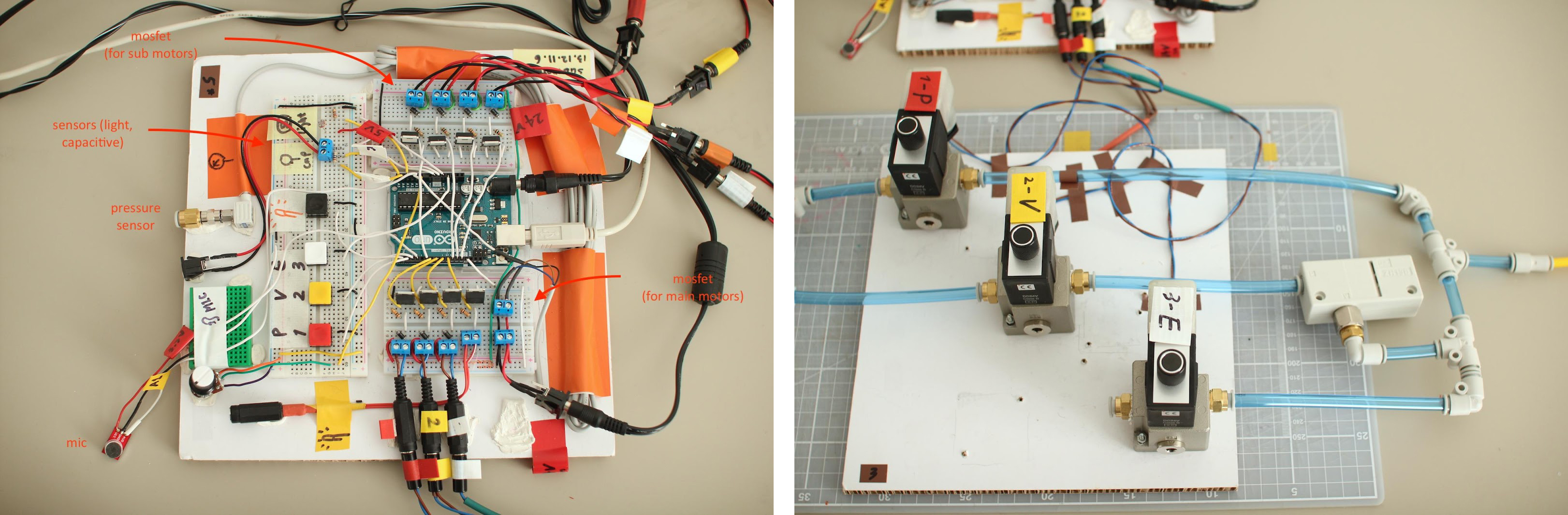 Research also includes learning how to control air. Referring to existing open-sourced controllers¹, I designed a controller unit for pillow-scale soft robots. Photos courtesy of Eun Young Park.