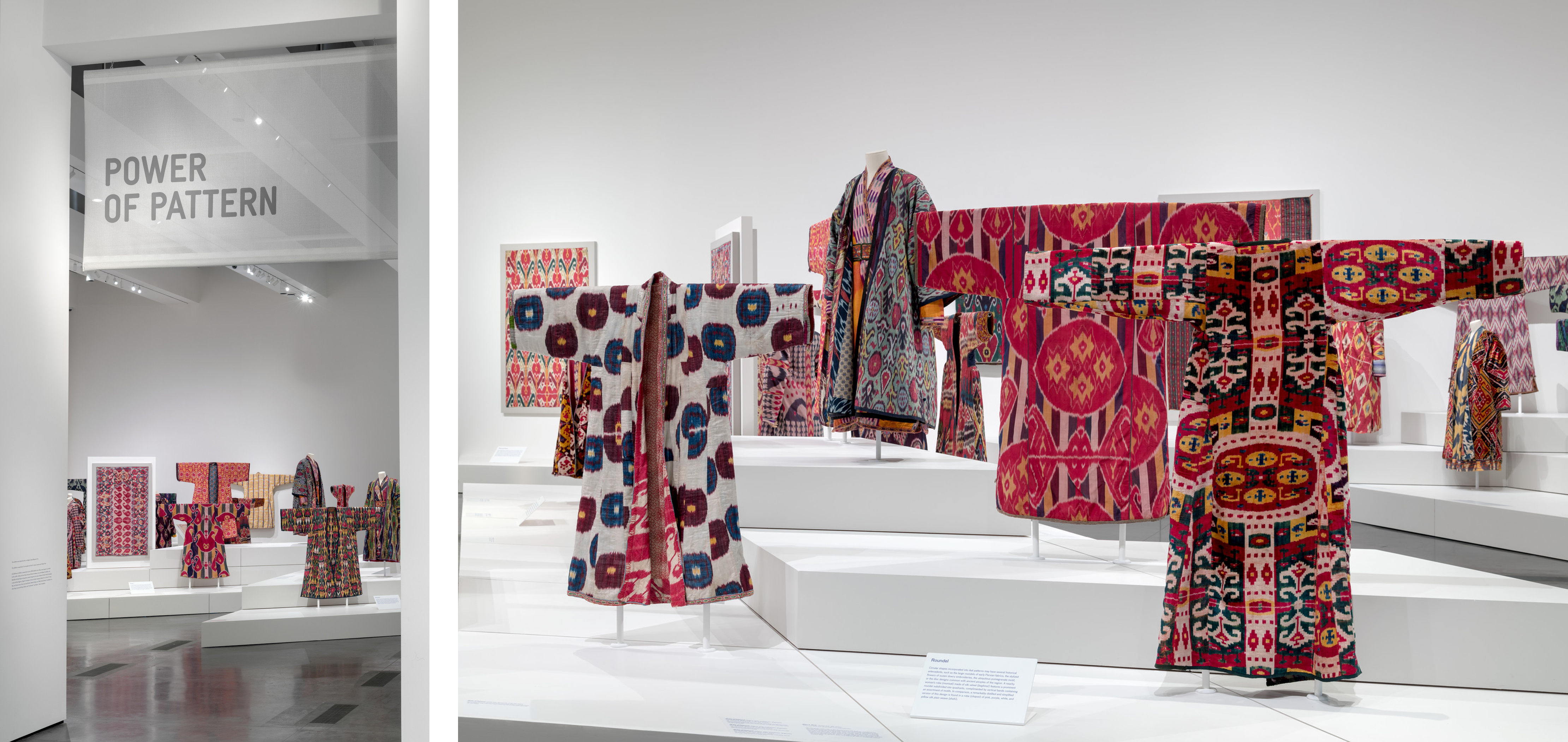 Installation photographs, Power of Pattern: Central Asian Ikats from the David and Elizabeth Reisbord Collection at the Los Angeles County Museum of Art, February 3–August 11, 2019, photo © Museum Associates/LACMA