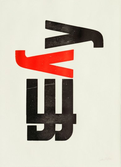 Jack Werner Stauffacher, Print from Wooden Letters from 300 Broadway, 1998, gift of the 2012 Decorative Arts and Design Acquisition Committee (DA2)