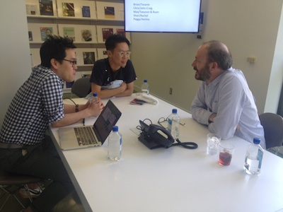 E Roon Kang and Taeyoon Choi talk with Max Maxwell of Google