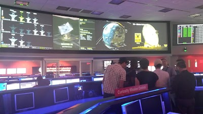 The group looking at data transmissions coming from space exploration at JPL
