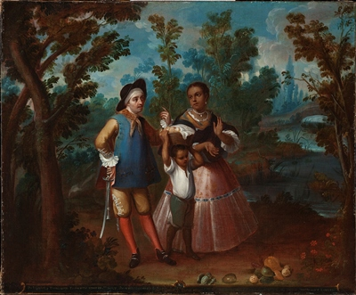 "Juan Patricio Morlete Ruiz, ""X. From Spaniard and Return Backwards, Hold Yourself Suspended in Mid Air,"" c. 1760, oil on canvas, gift of the 2011 Collectors Committee"
